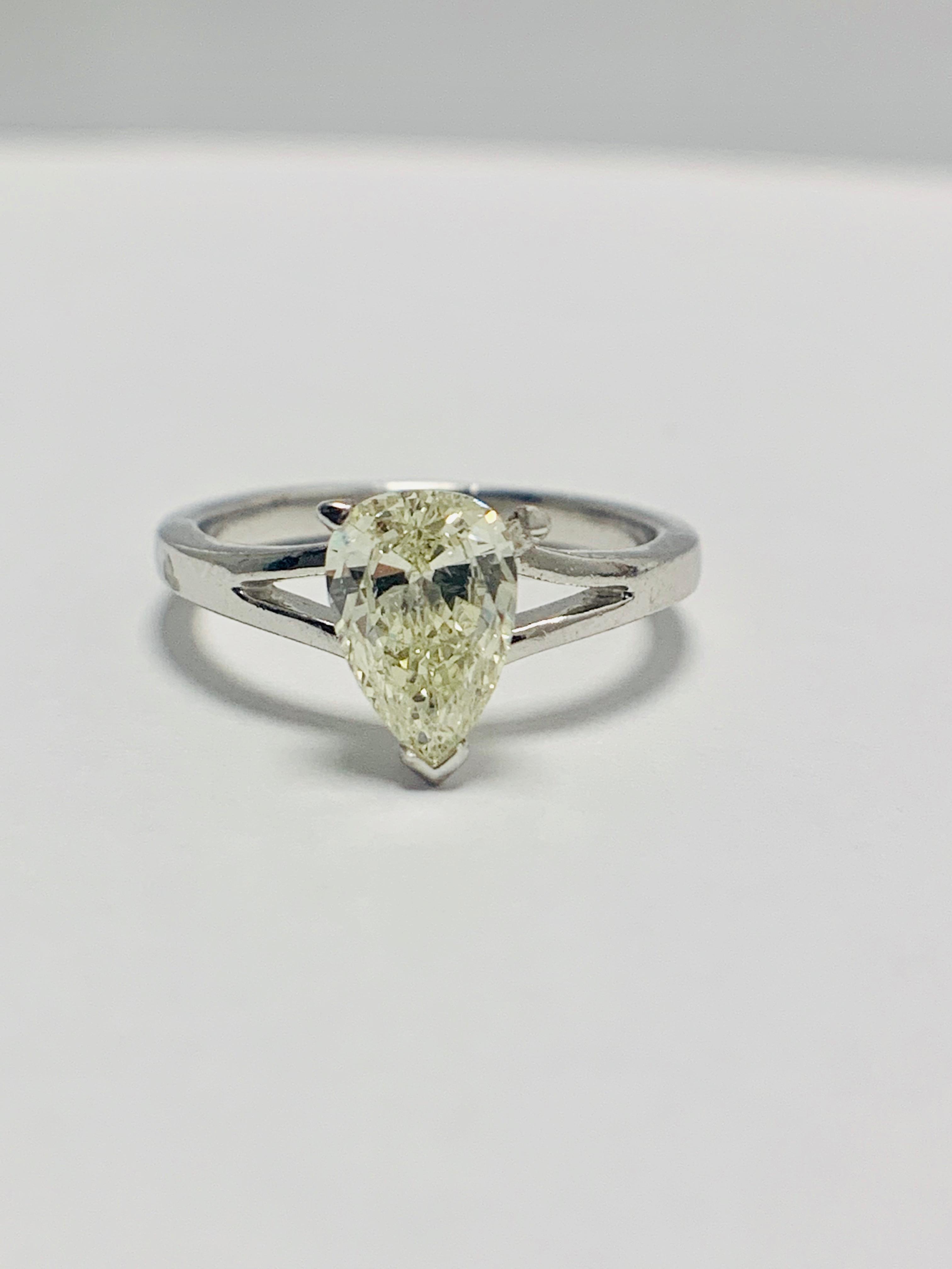 1ct Pearshape Diamond PLatinum Solitaire Ring.