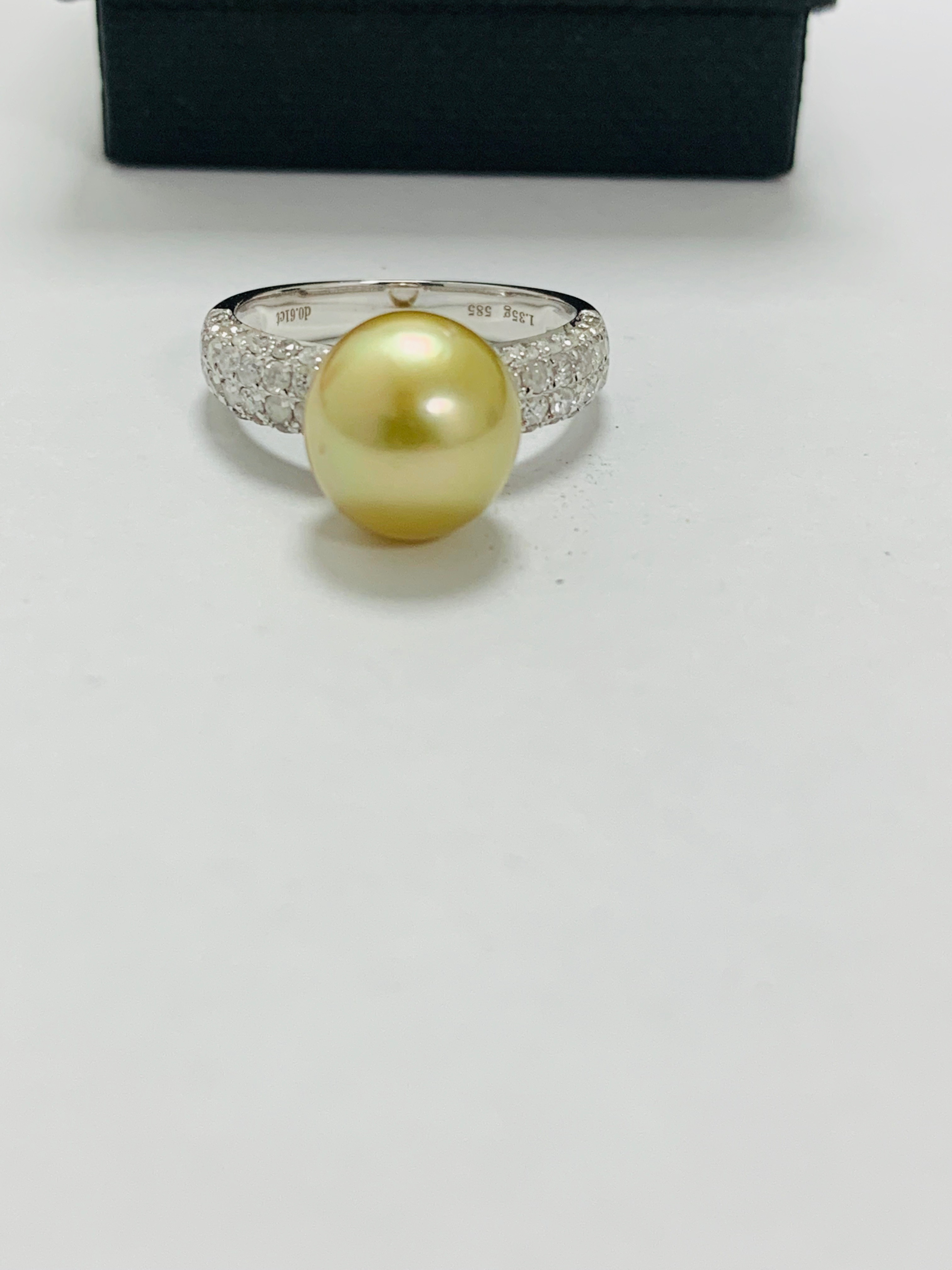 14ct white gold pearl & diamond ring. - Image 4 of 13
