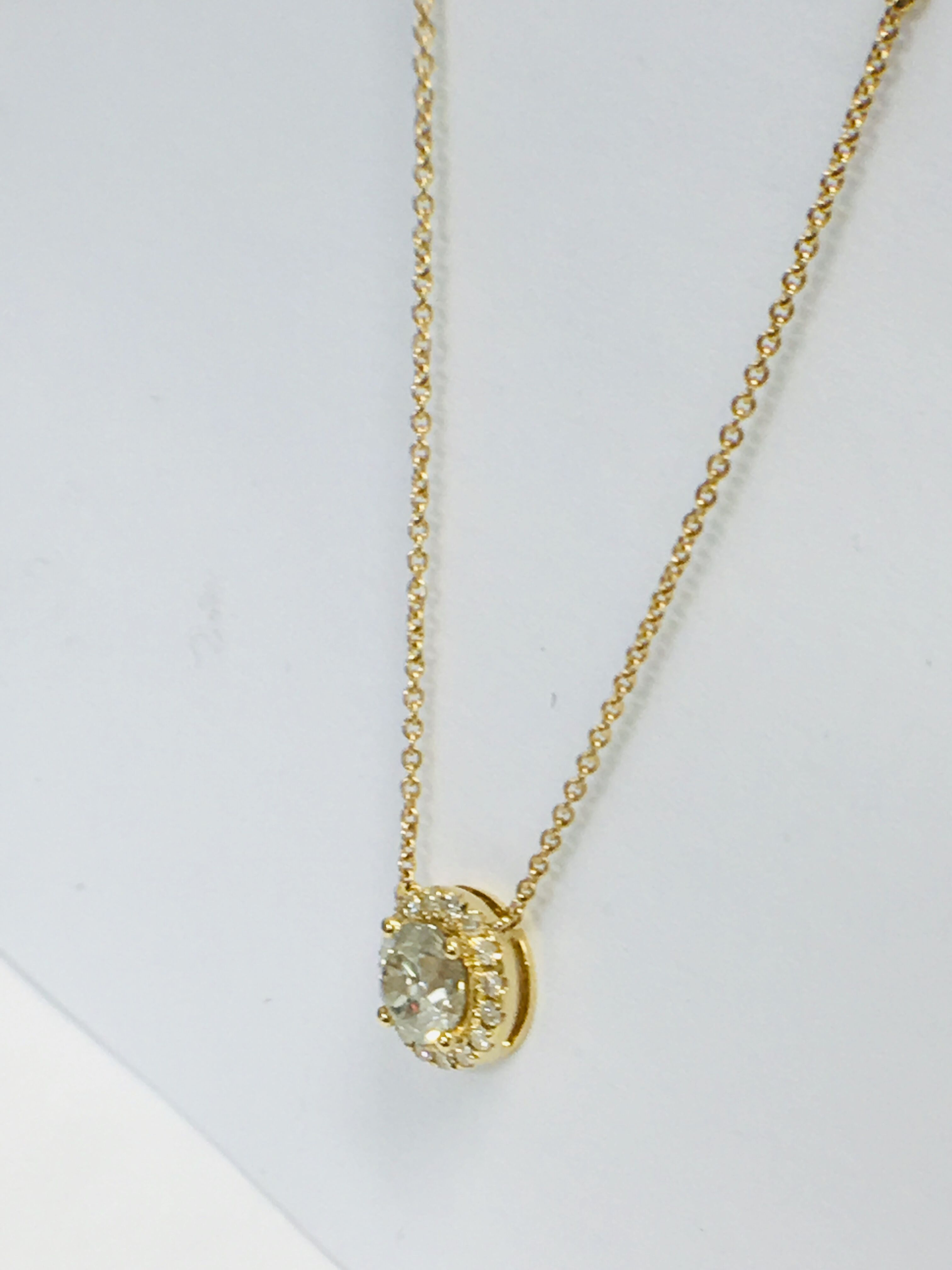 18ct yellow gold diamond necklace. tdw. - Image 7 of 10