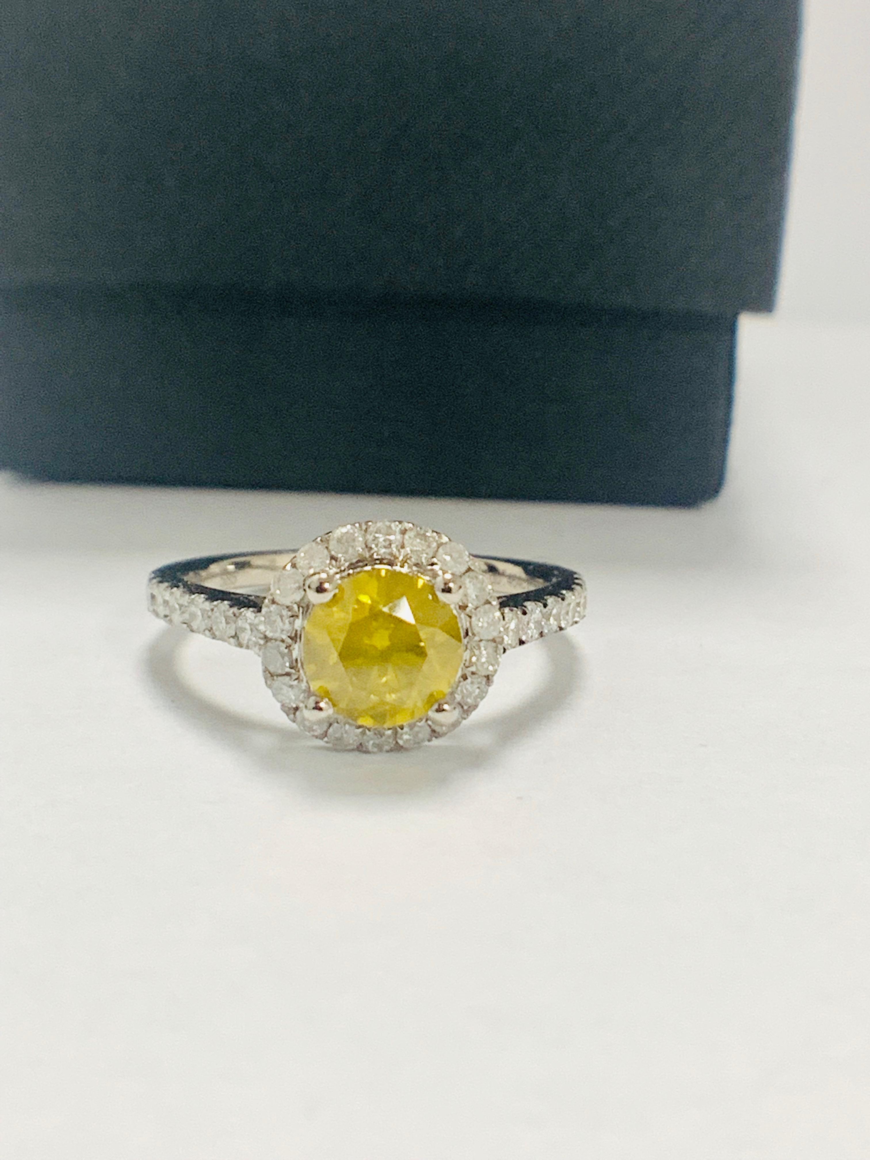 14ct White Gold Diamond ring featuring centre, round brilliant cut, yellow Diamond (1.08ct) - Image 9 of 12