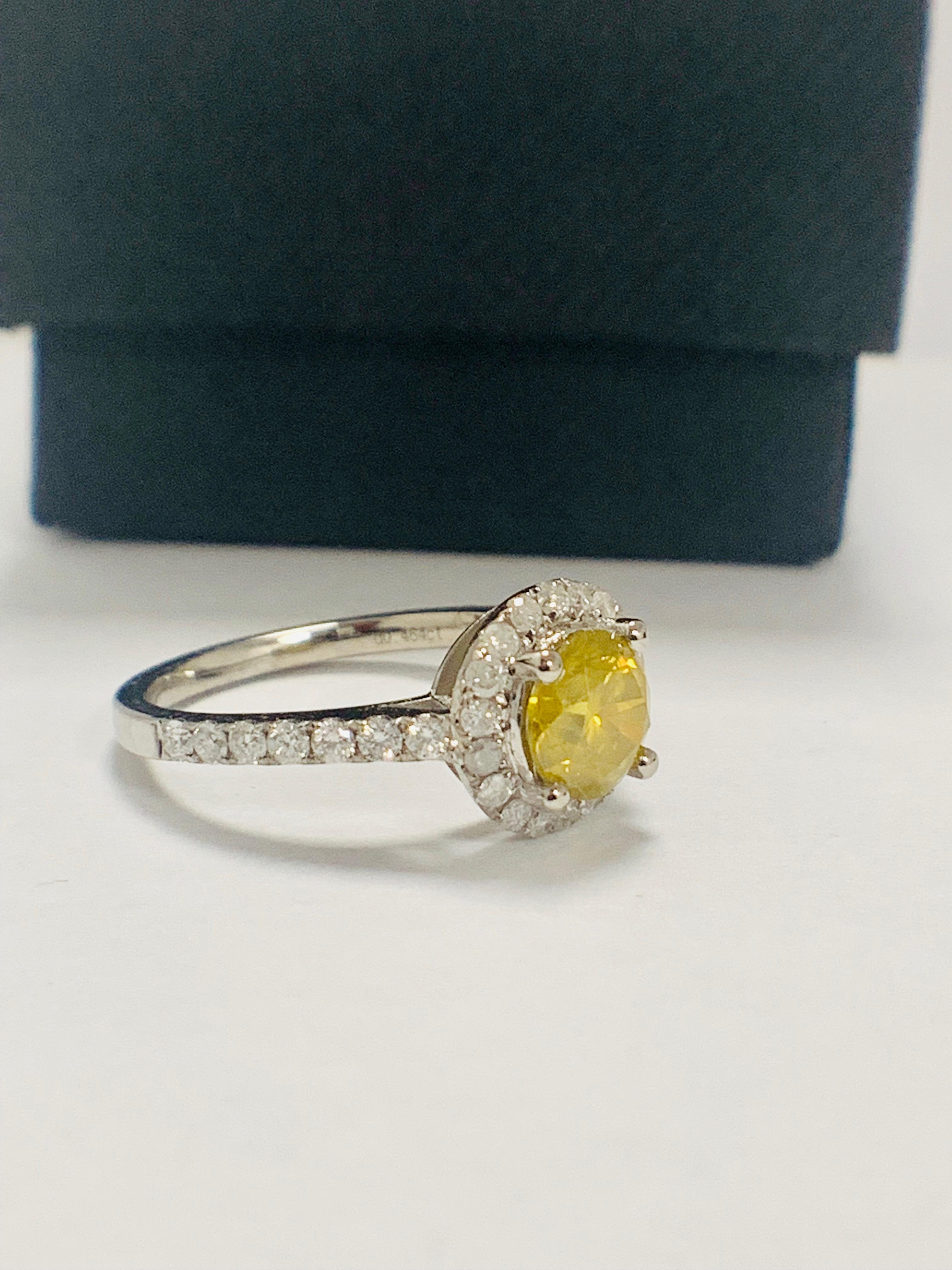 14ct White Gold Diamond ring featuring centre, round brilliant cut, yellow Diamond (1.08ct) - Image 8 of 12