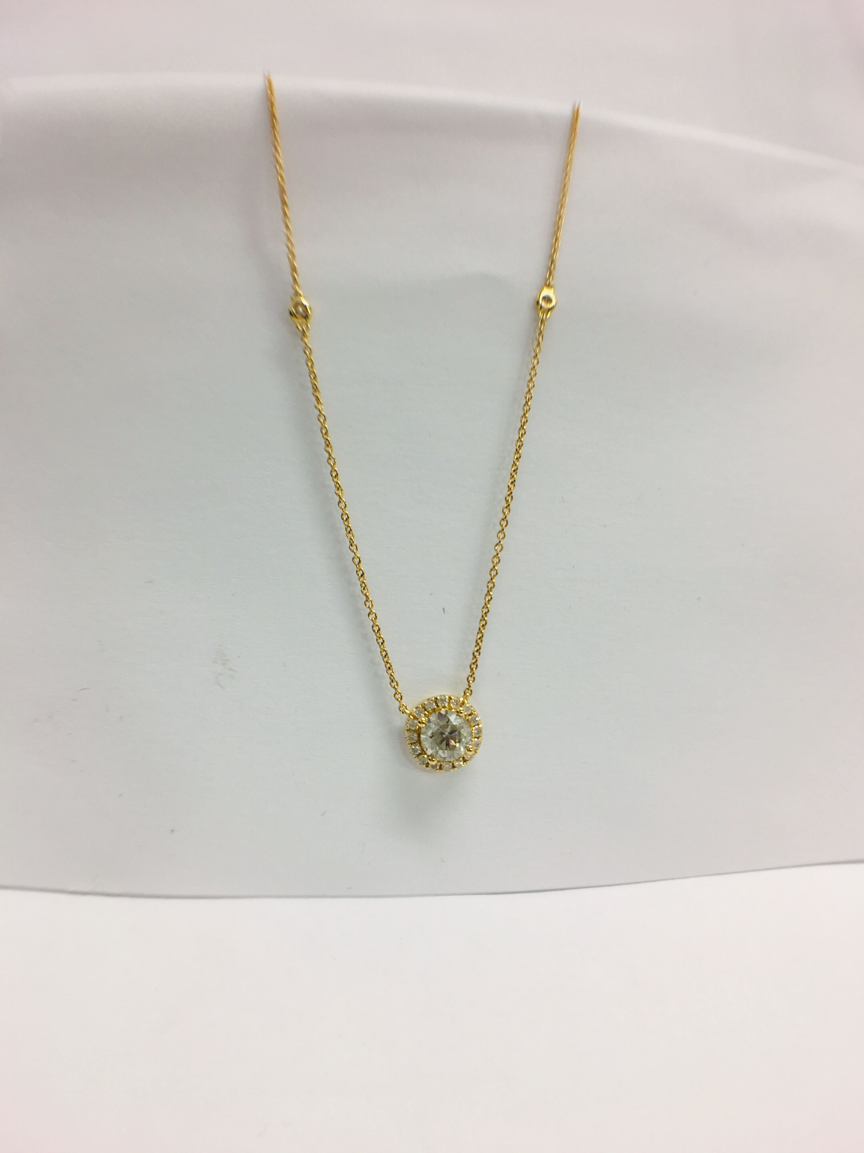 18ct yellow gold diamond necklace. tdw. - Image 3 of 10
