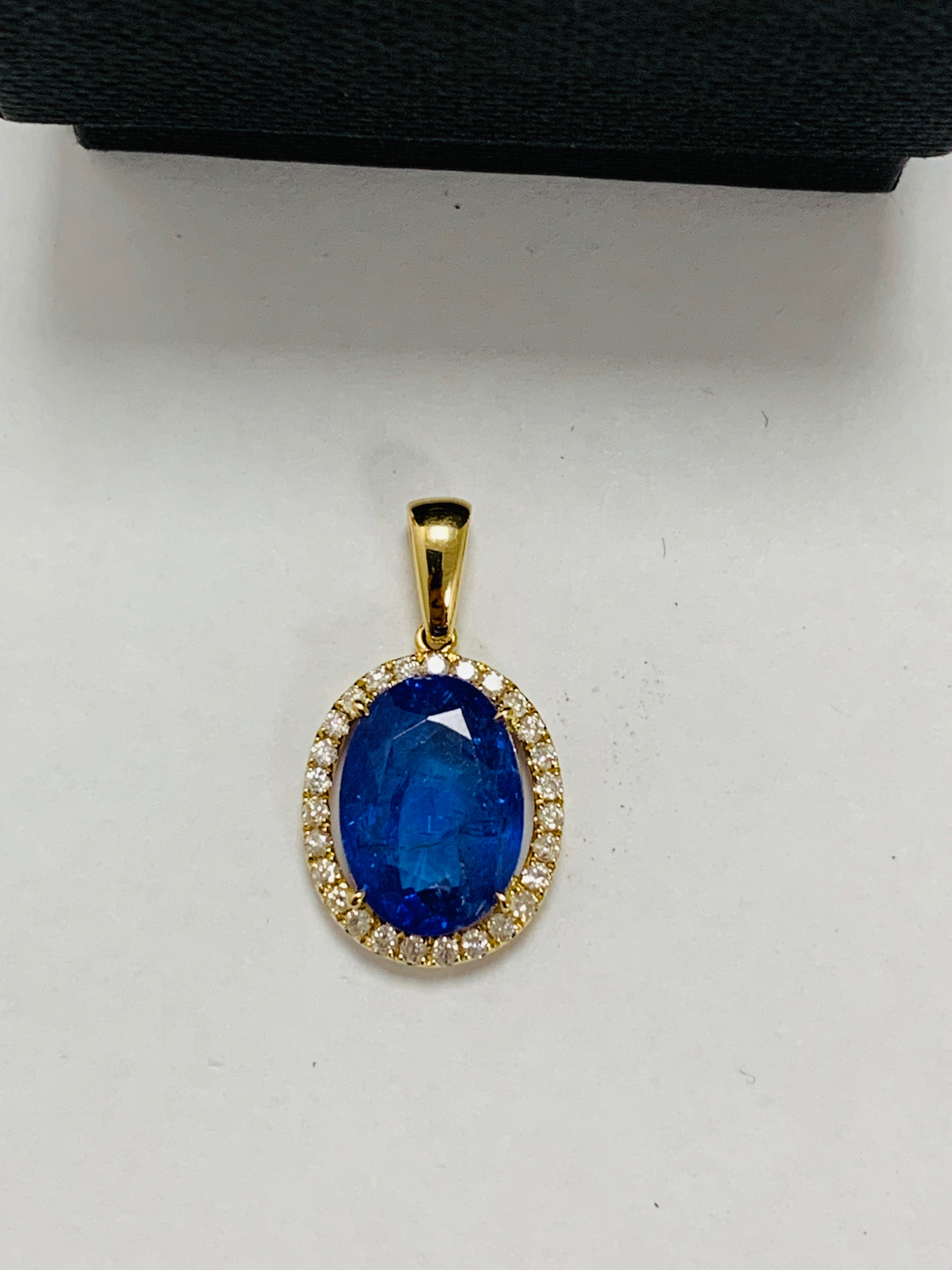18ct yellow gold tanzanite & diamond drop pendant tsw. - Image 4 of 7