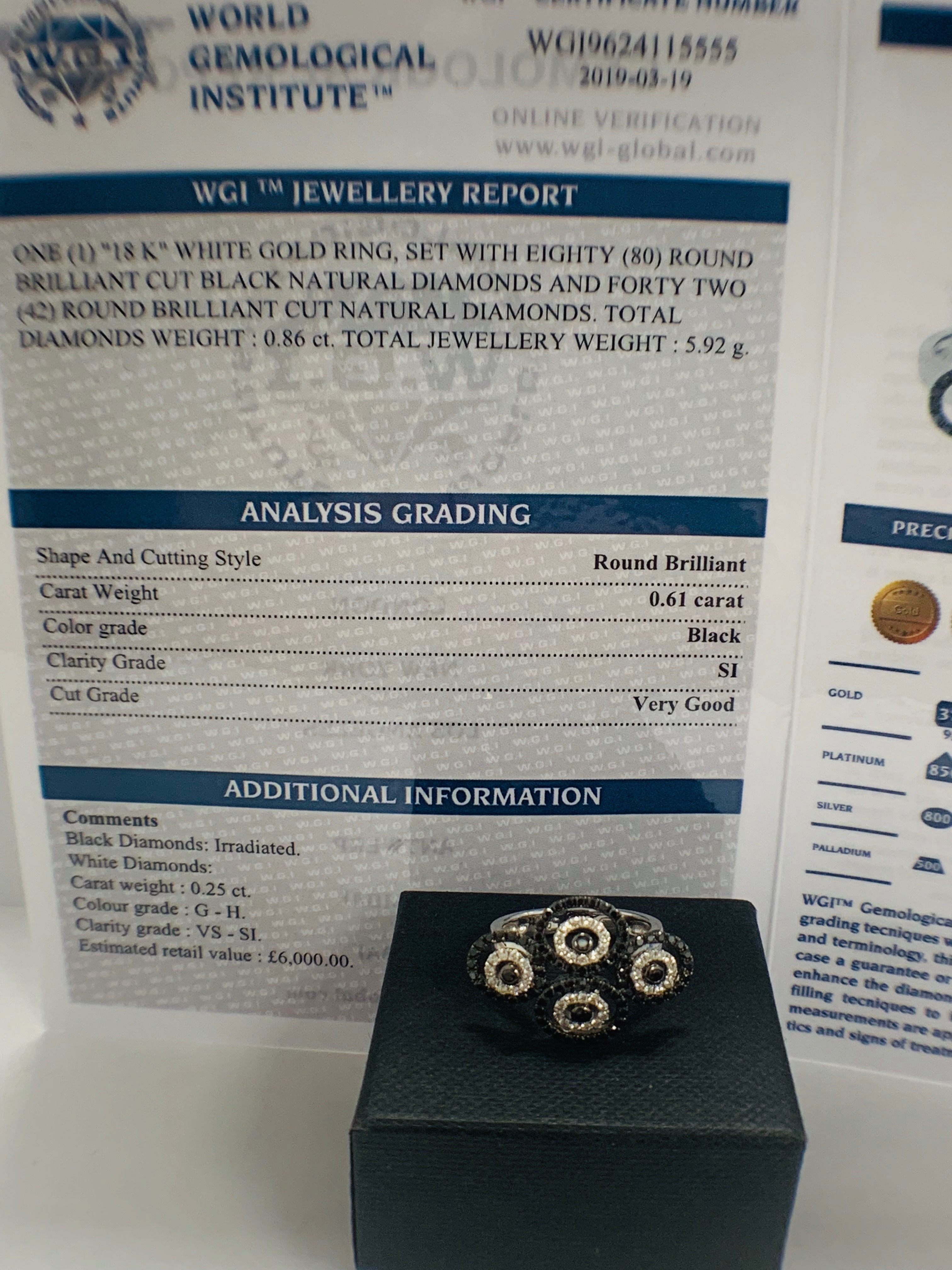 18ct White Gold Diamond ring featuring 80 round cut, black Diamonds (0.61ct TBDW) - Image 11 of 12