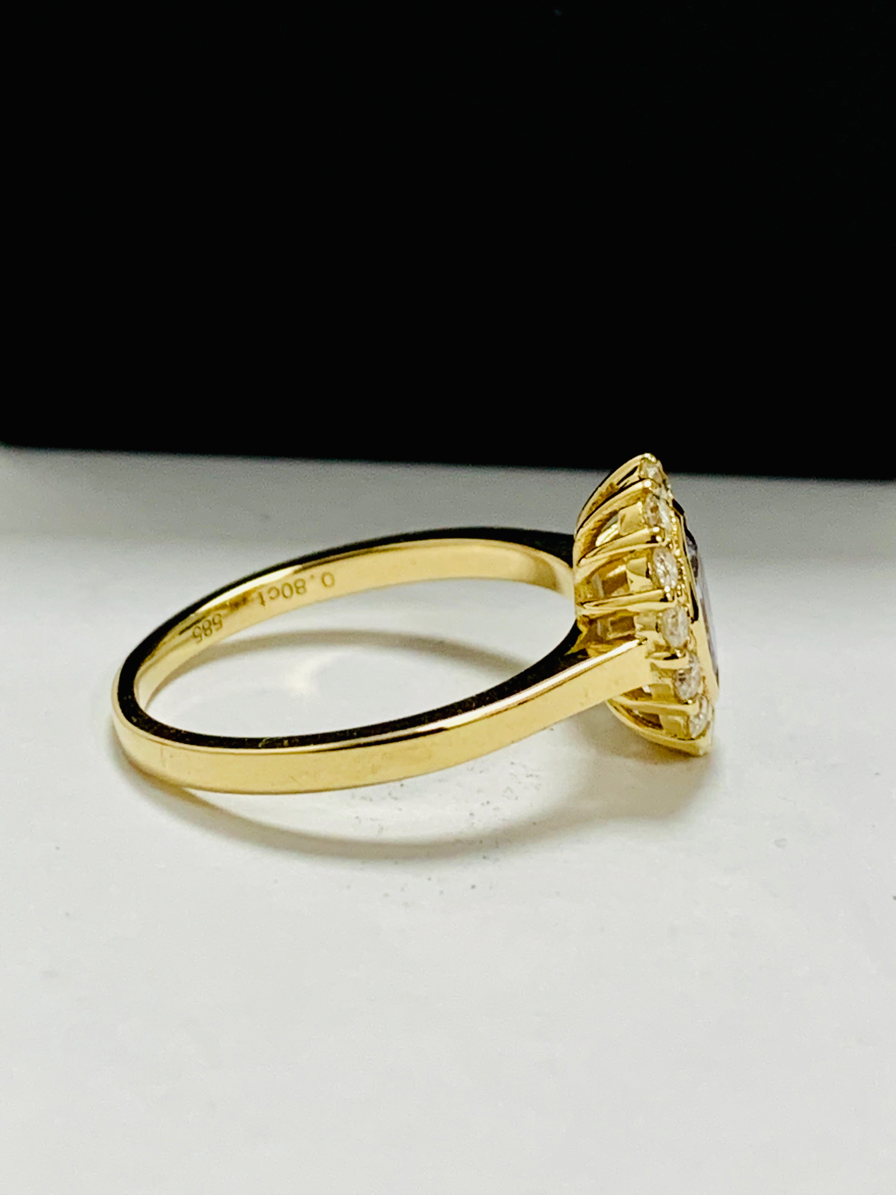 14ct yellow gold sapphire and diamond ring. - Image 7 of 11