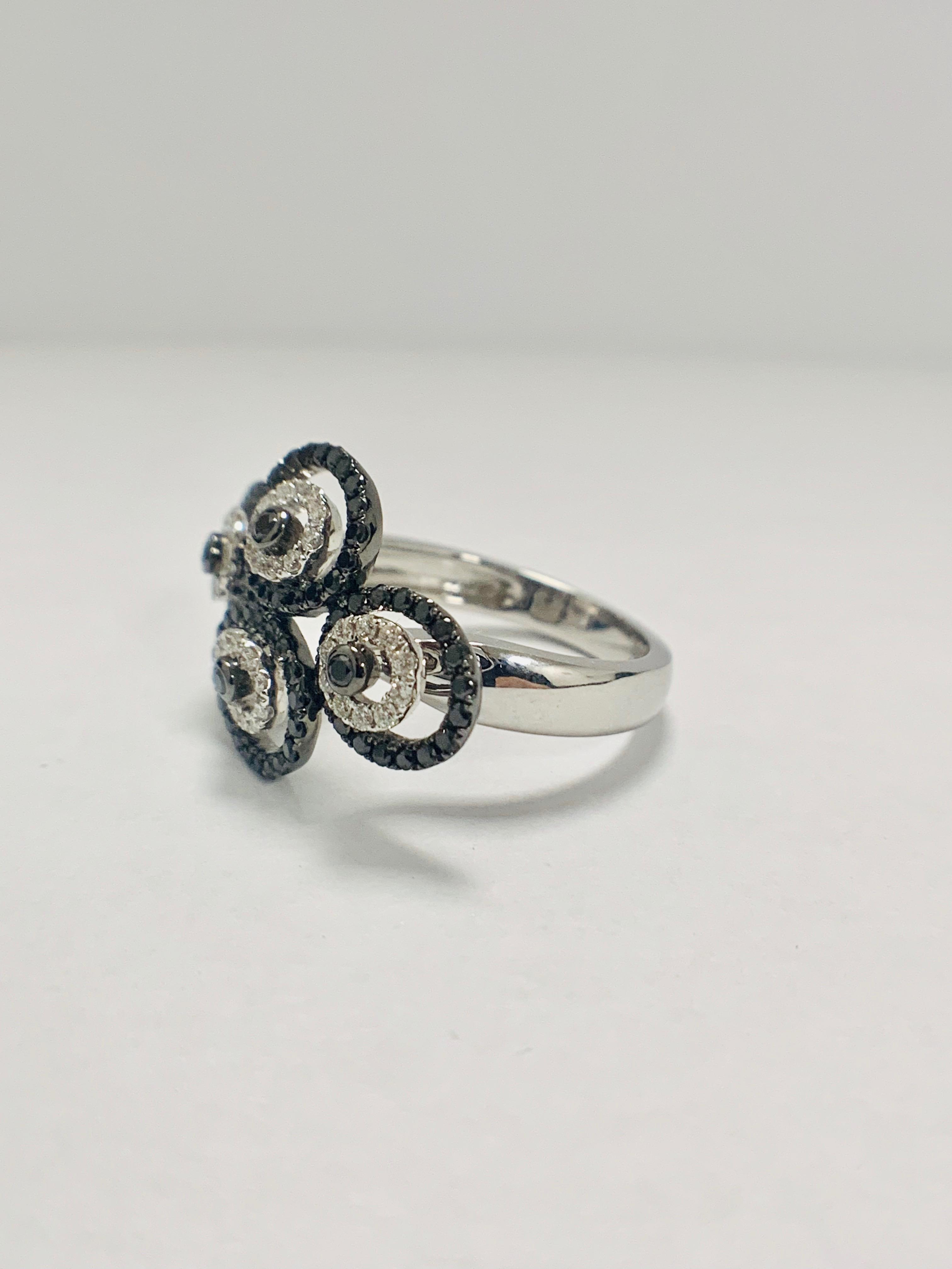 18ct White Gold Diamond ring featuring 80 round cut, black Diamonds (0.61ct TBDW) - Image 9 of 12