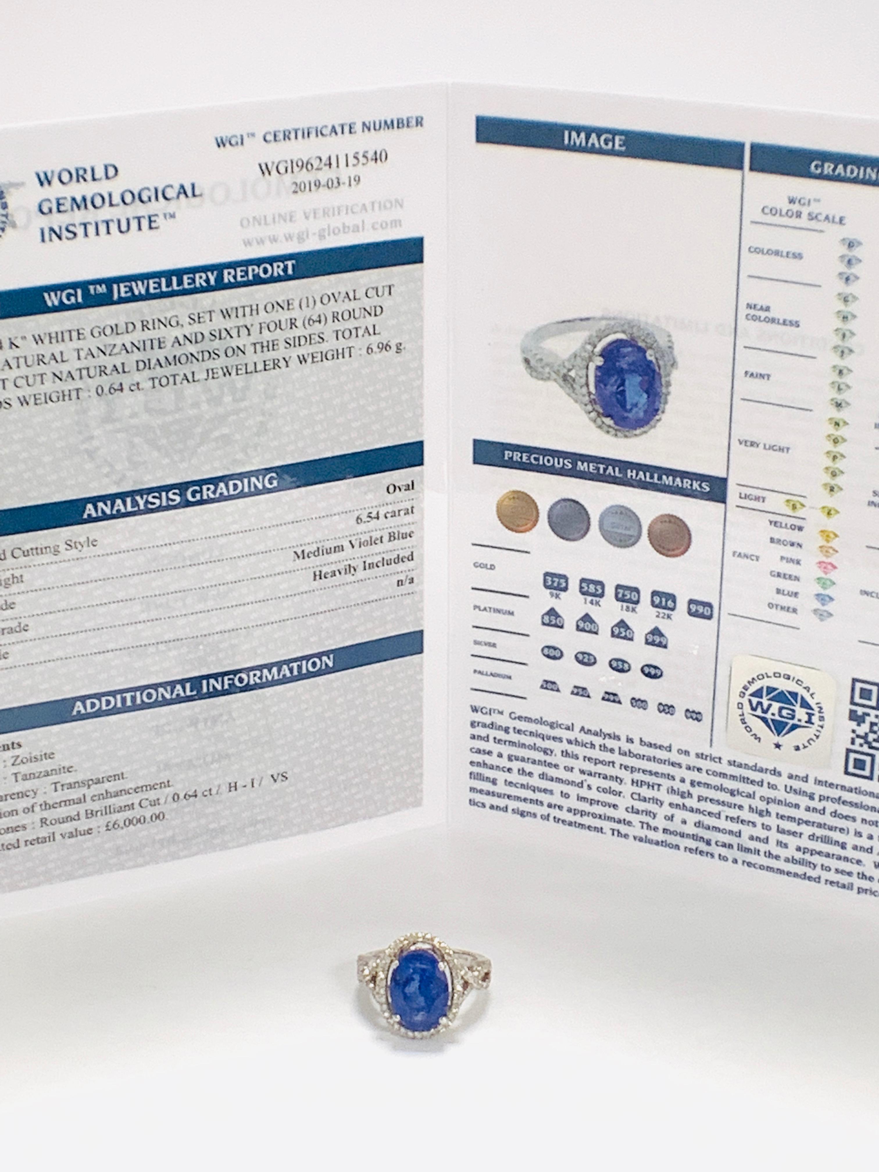 18ct White Gold Tanzanite and Diamond ring - Image 12 of 15
