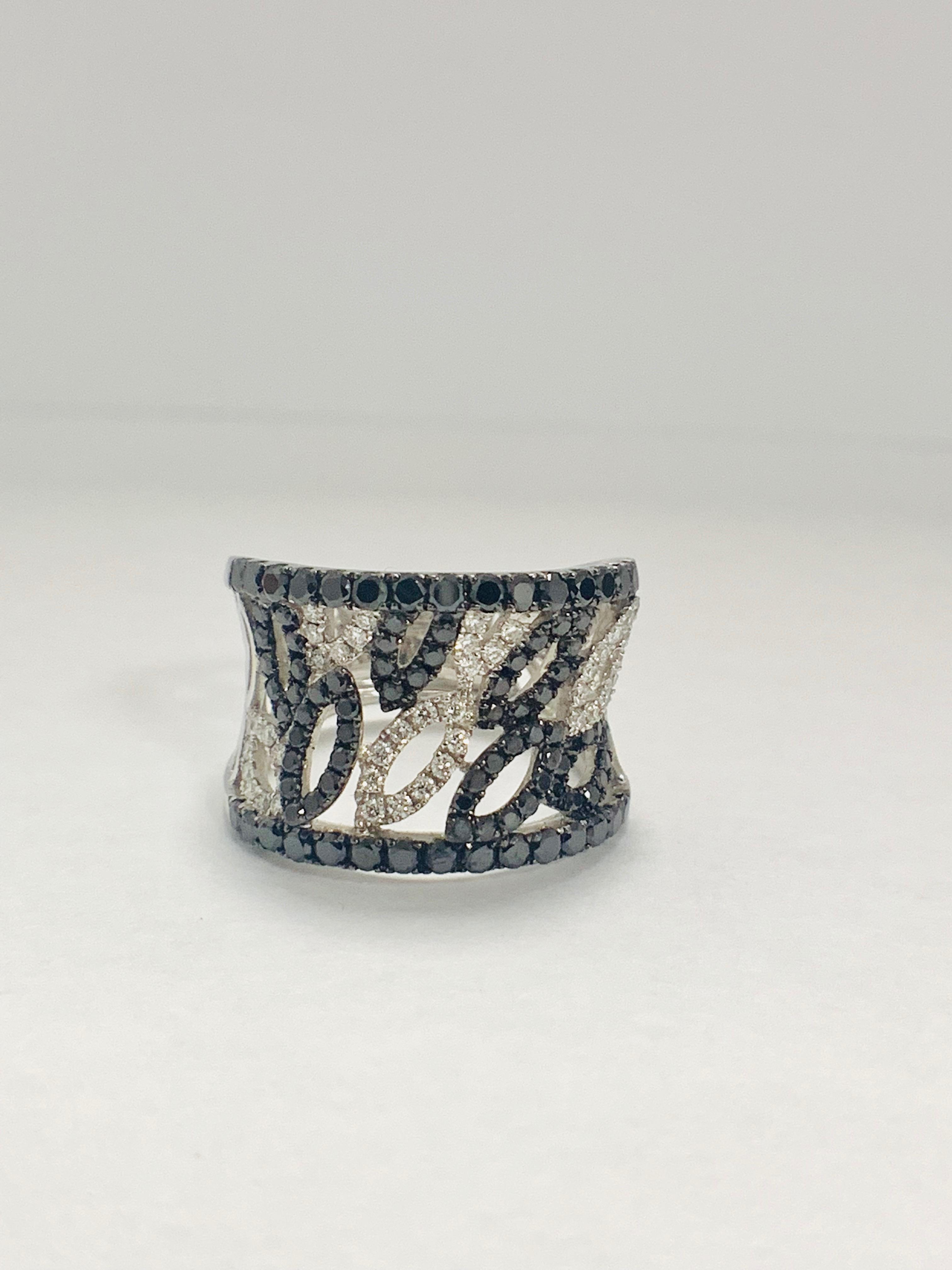 18ct White Gold Diamond ring featuring 90 round cut, black Diamonds (1.14ct TBDW)