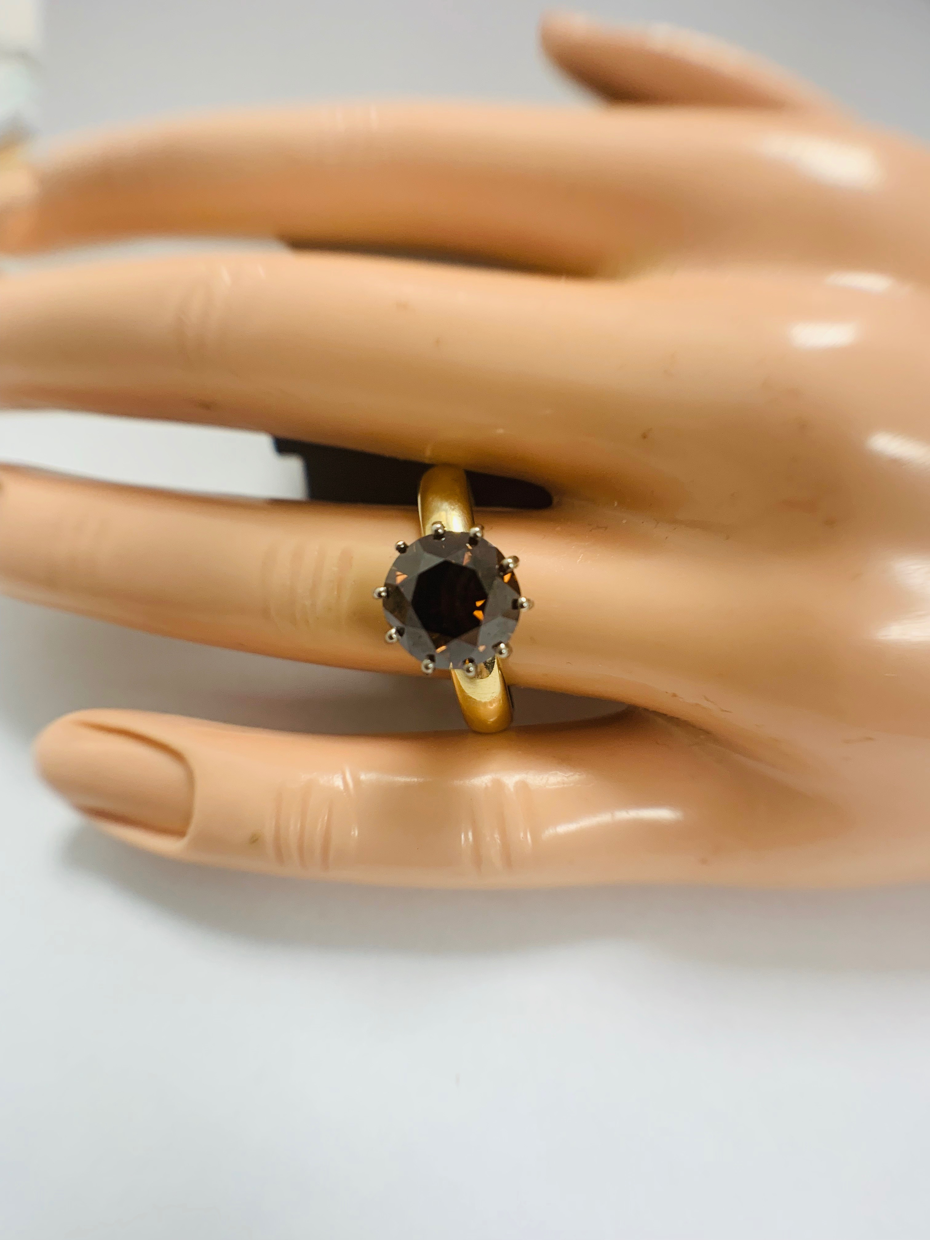 18ct Yellow Gold Diamond ring featuring centre, round brilliant cut, deep orangey brown Diamond (3.3 - Image 11 of 13