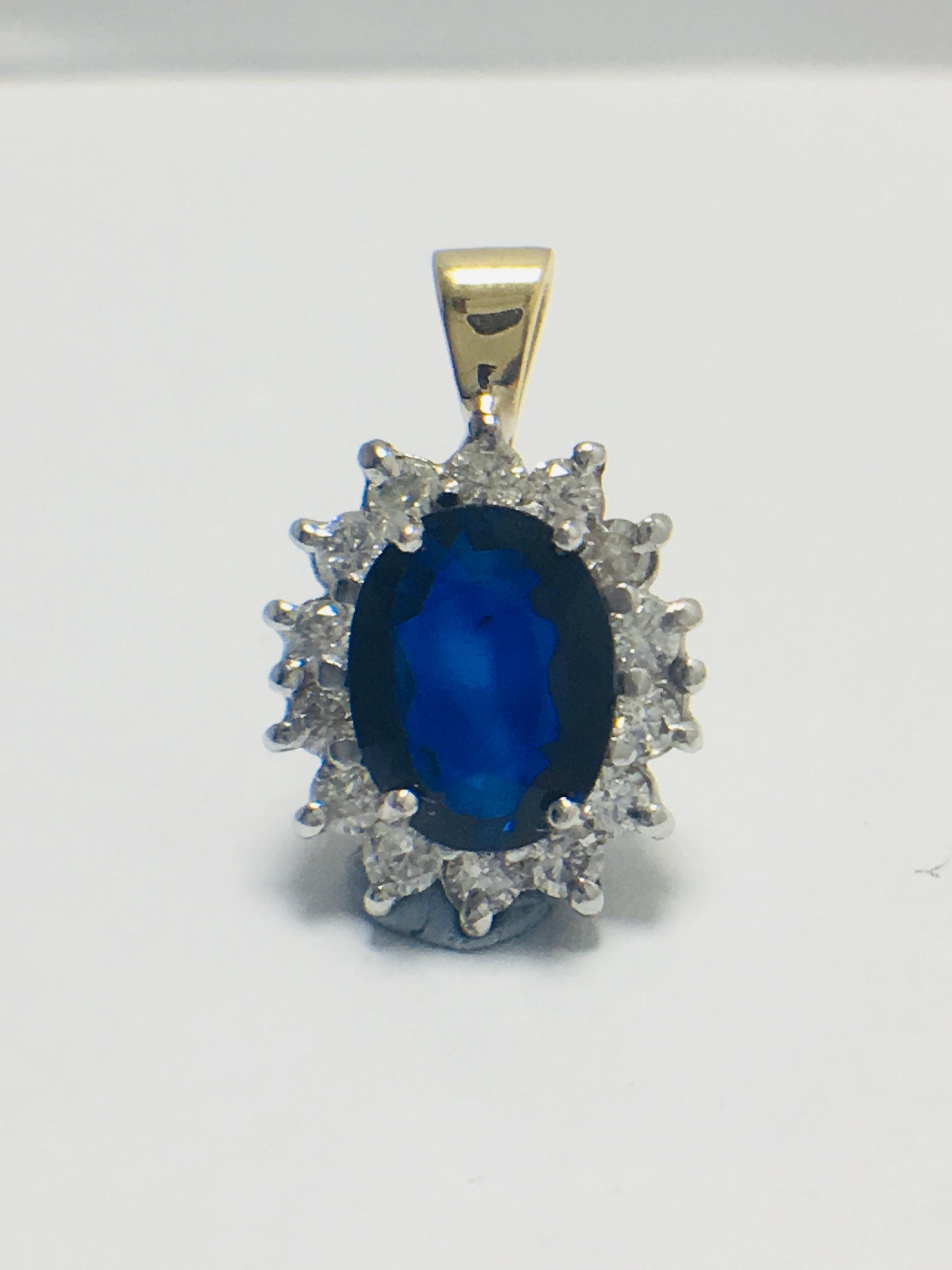 Sapphire and Diamond pendant,18ct gold
