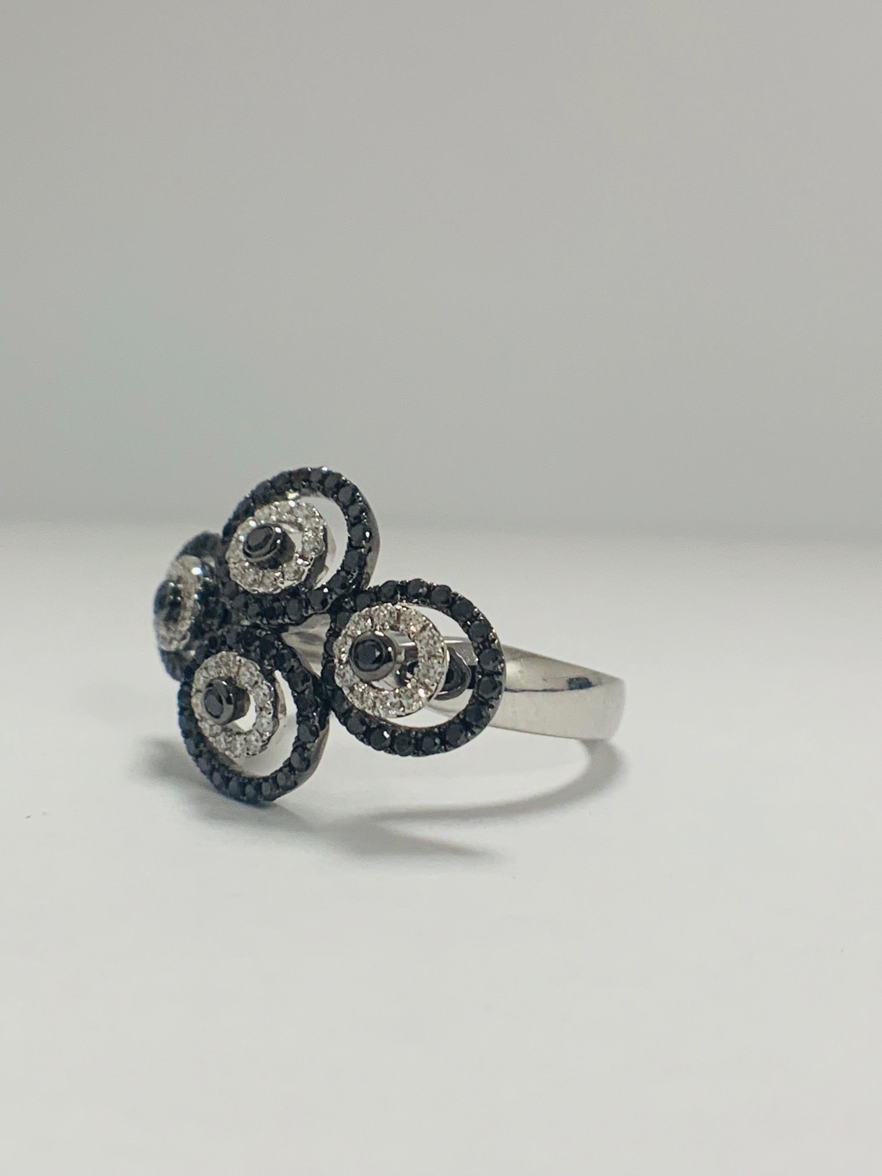 18ct White Gold Diamond ring featuring 80 round cut, black Diamonds (0.61ct TBDW) - Image 2 of 12