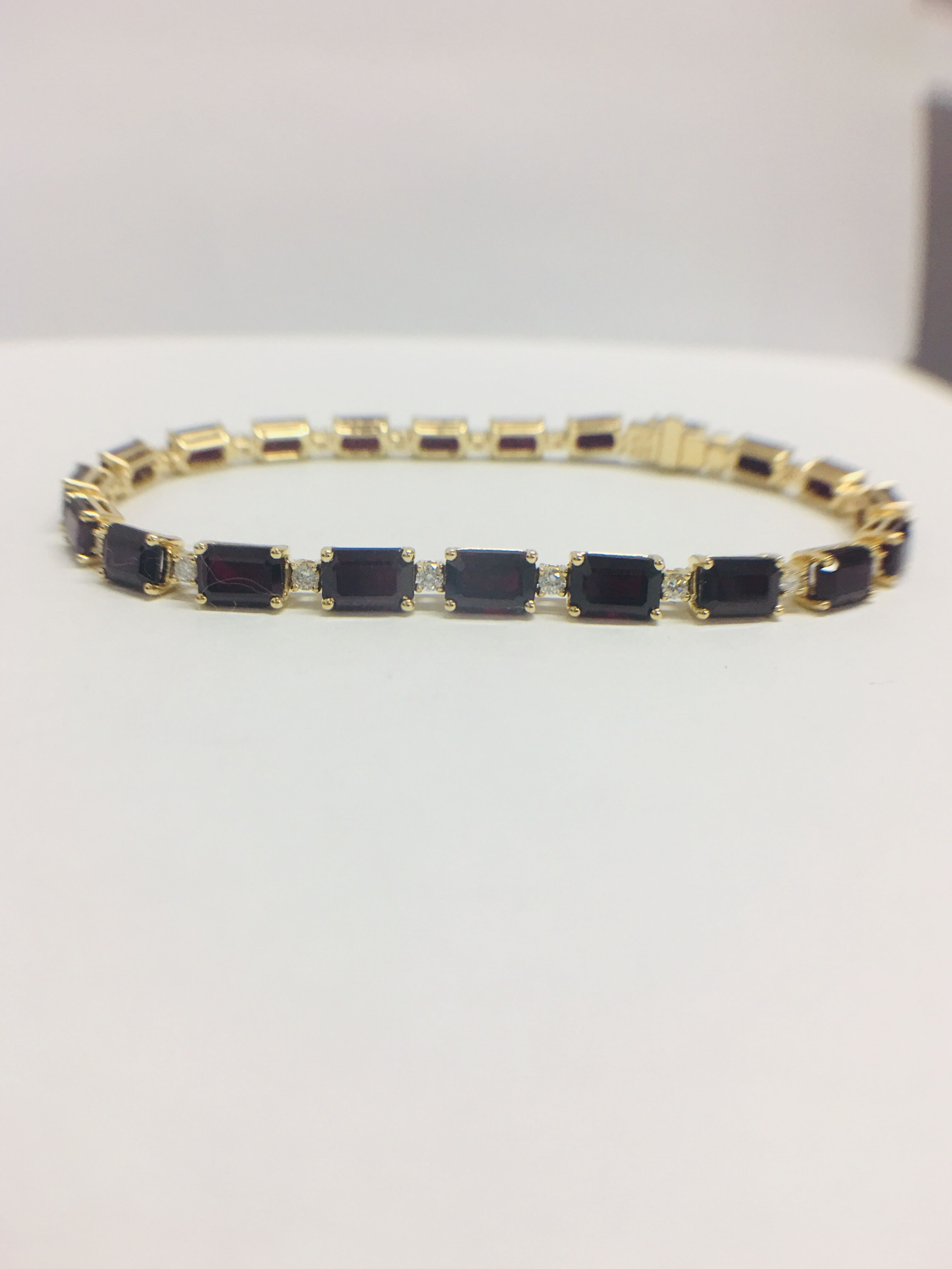 18ct yellow gold ruby and diamond tennis bracelet