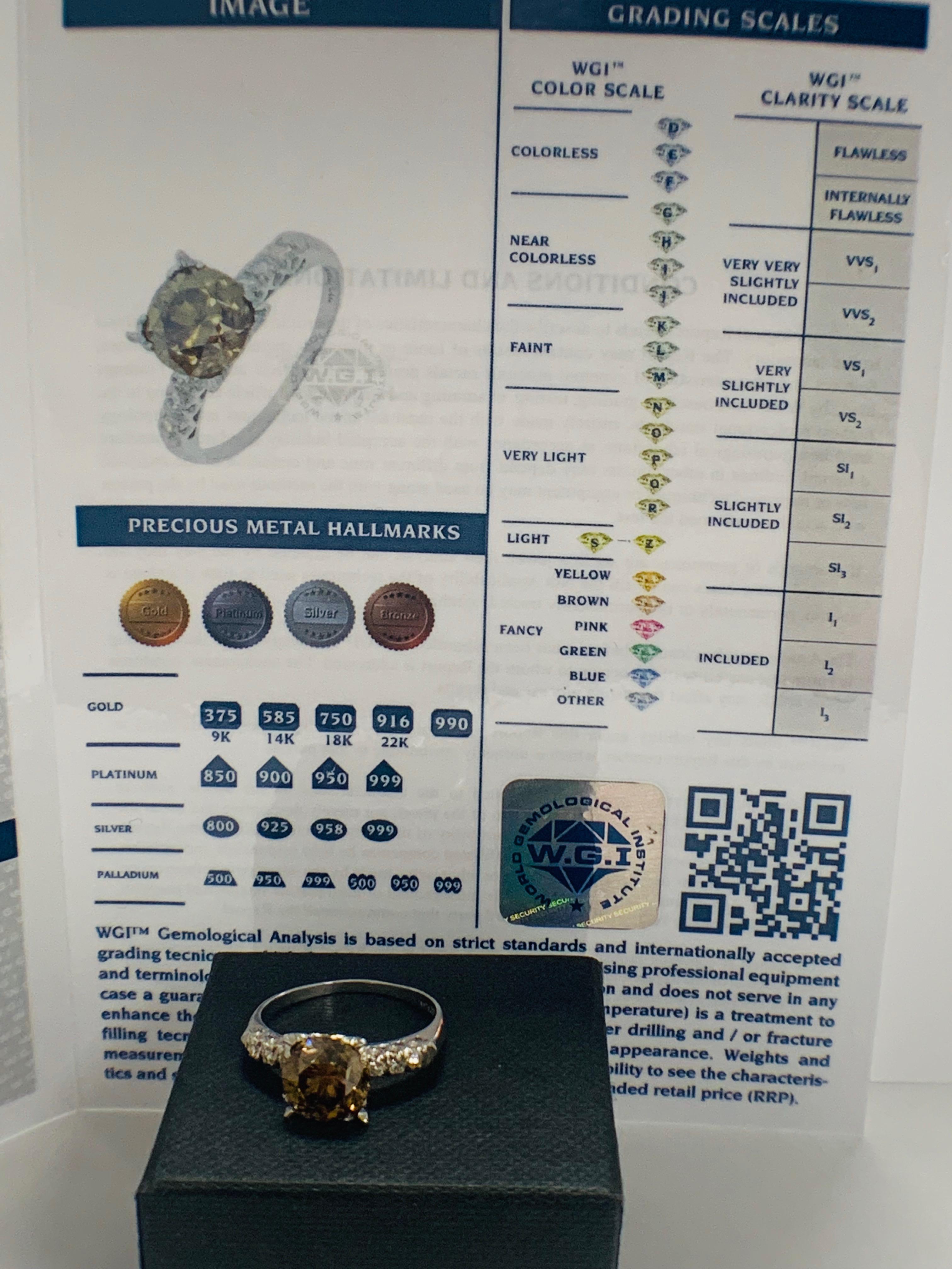 Platinum Diamond ring featuring centre, round brilliant cut, medium yellowish brown Diamond (3.20ct) - Image 7 of 9