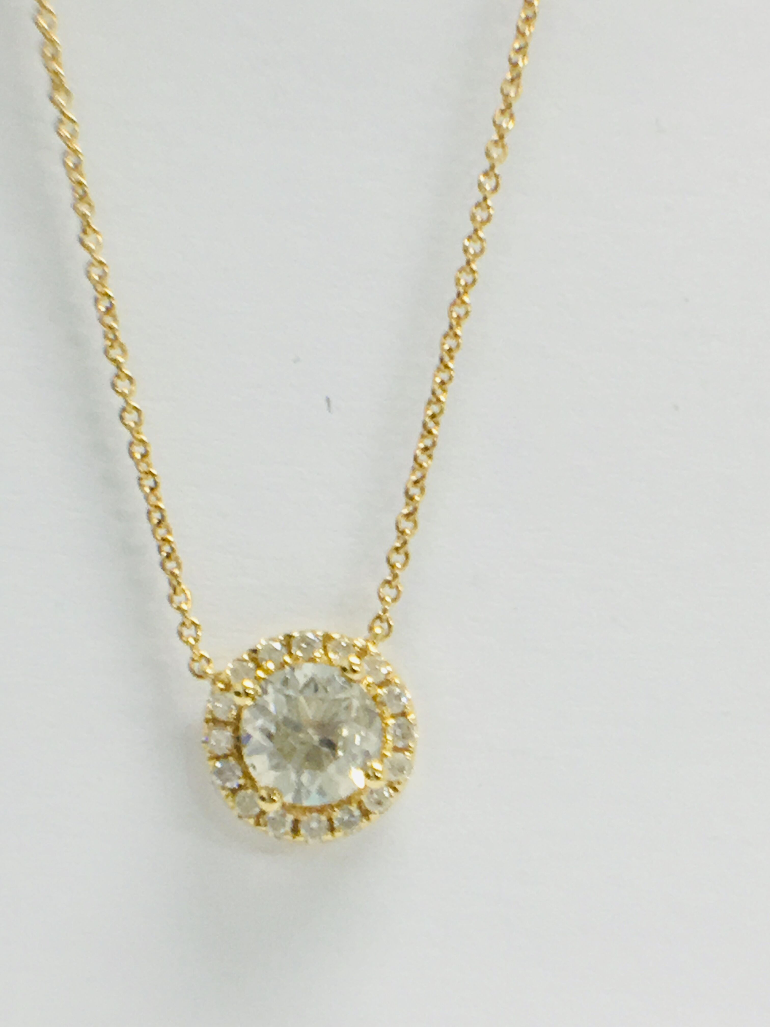 18ct yellow gold diamond necklace. tdw. - Image 4 of 10