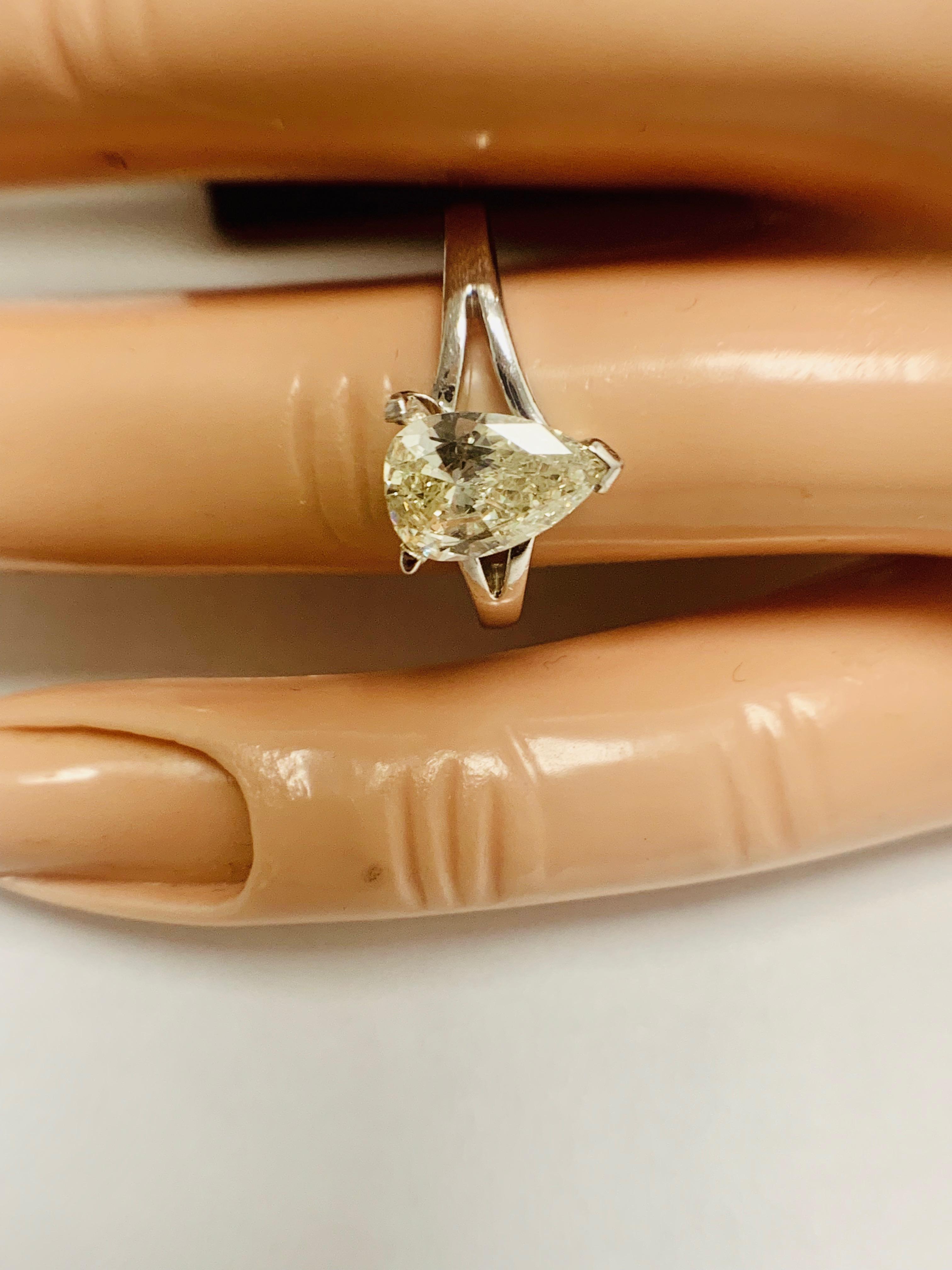 1ct Pearshape Diamond PLatinum Solitaire Ring. - Image 9 of 9