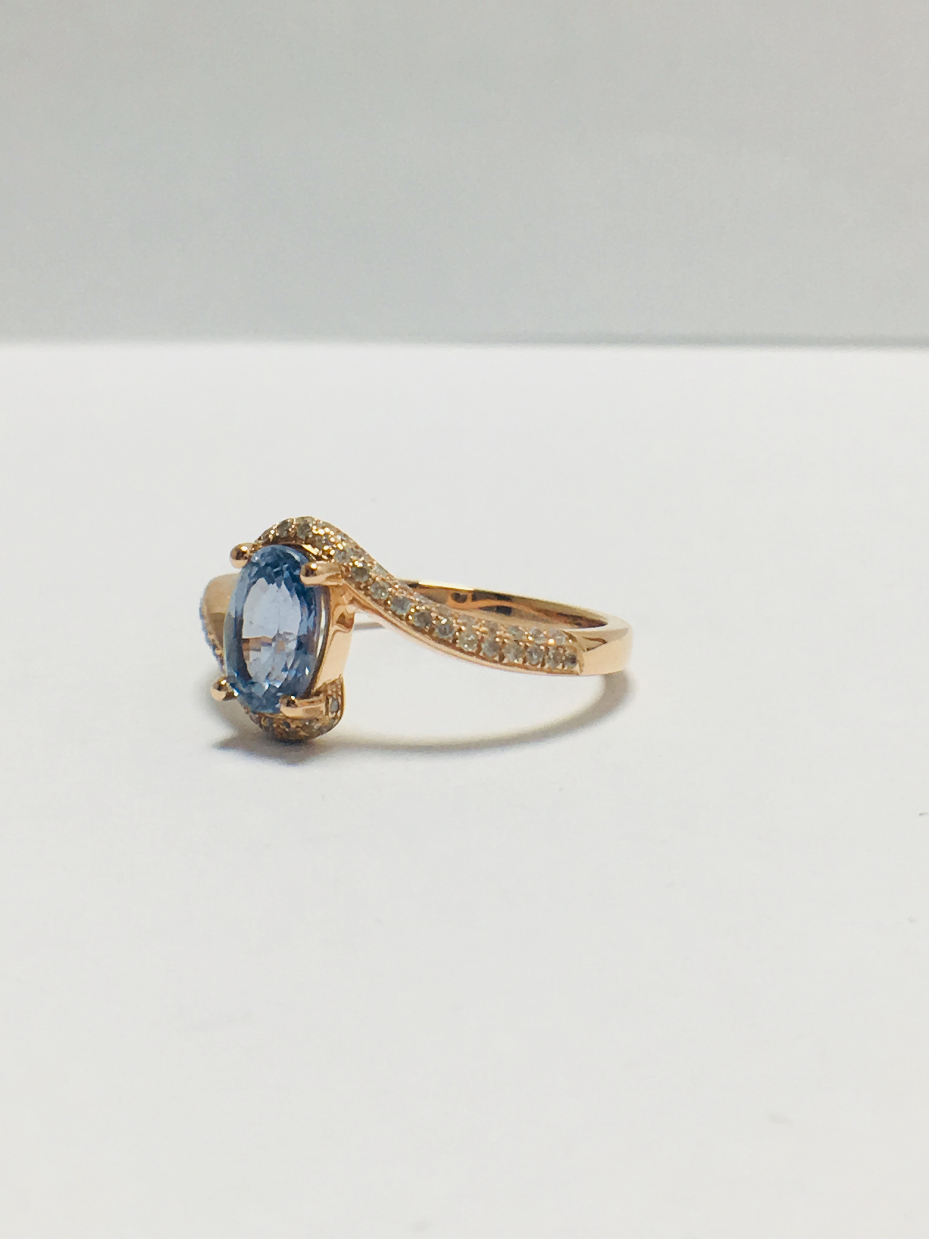 14ct rose gold sapphire and diamond ring - Image 2 of 9