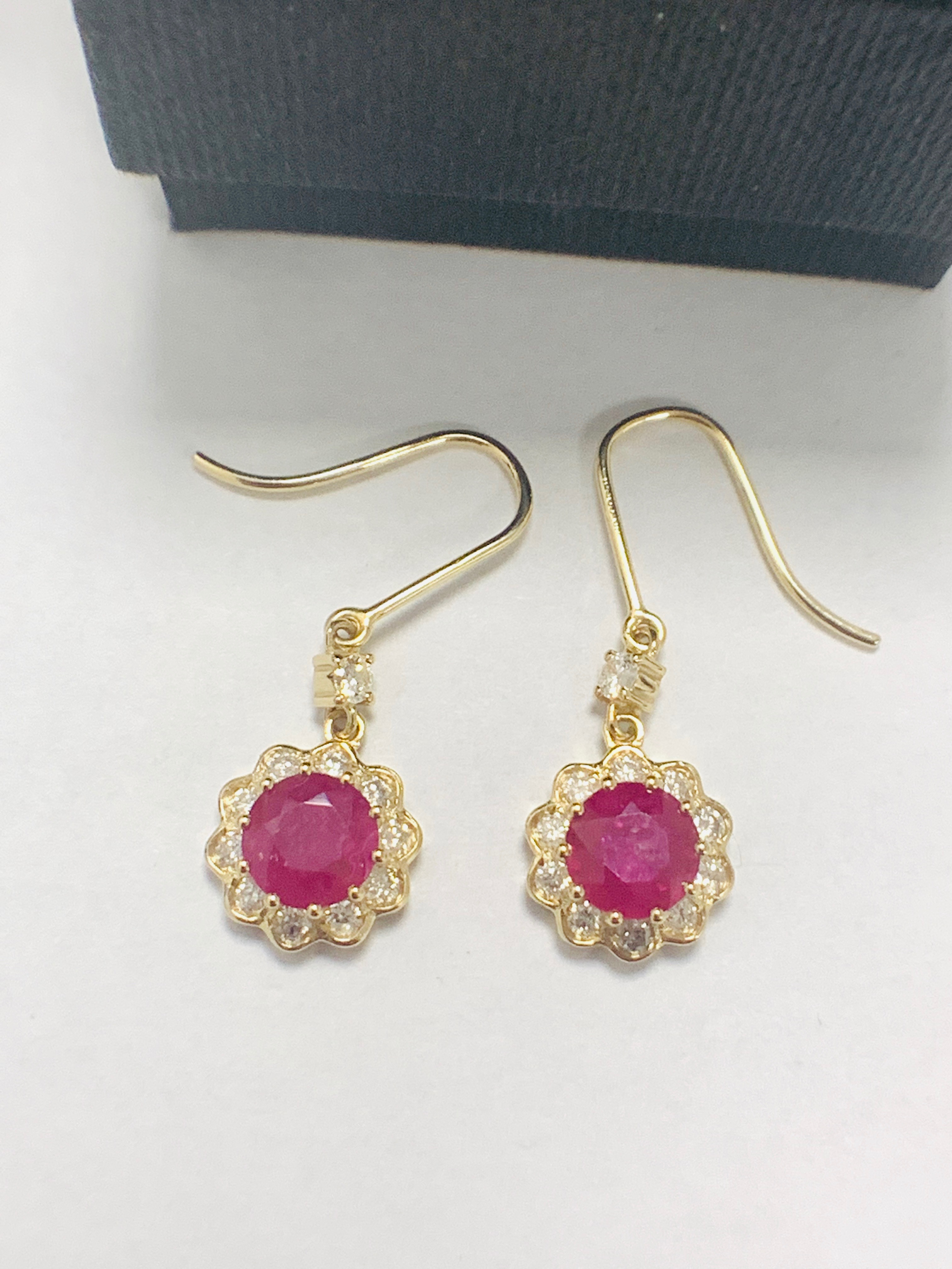 14ct Yellow Gold Ruby and Diamond earrings featuring, 2 round cut, red Rubies (2.22ct TSW) - Image 2 of 8