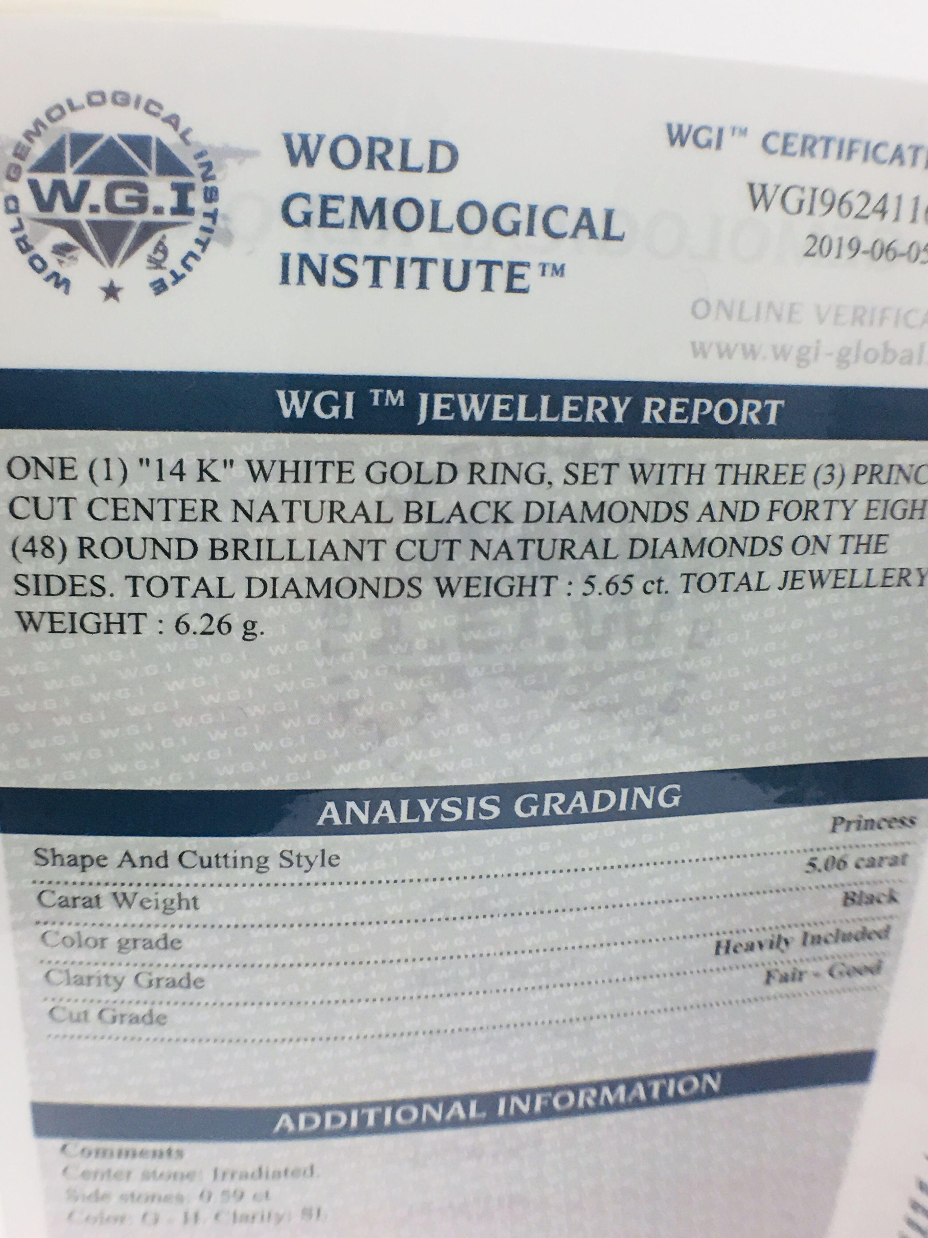 14ct white gold black diamond trilogy ring. - Image 13 of 14