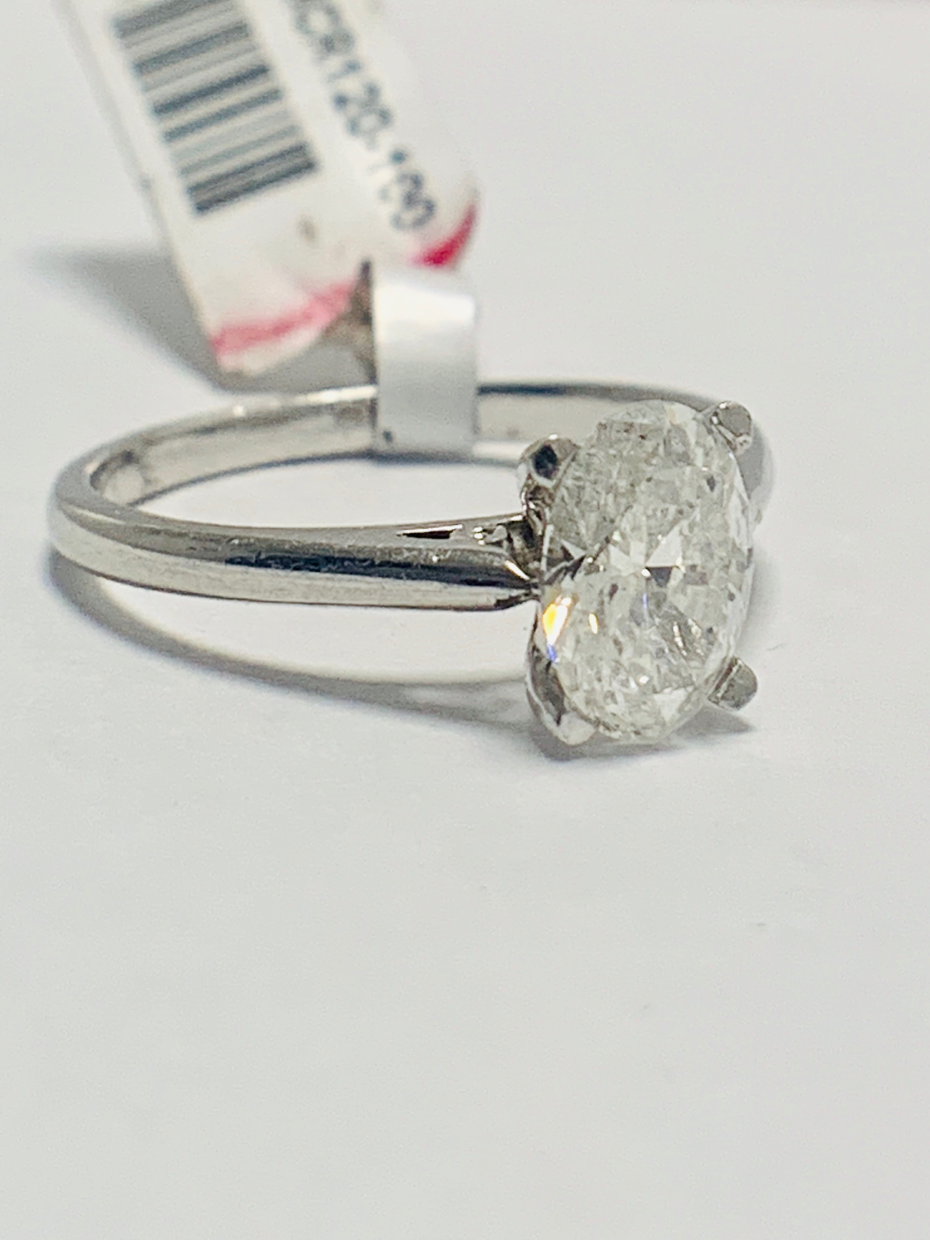 1ct Oval diamond solitaire platinum ring - Image 6 of 9
