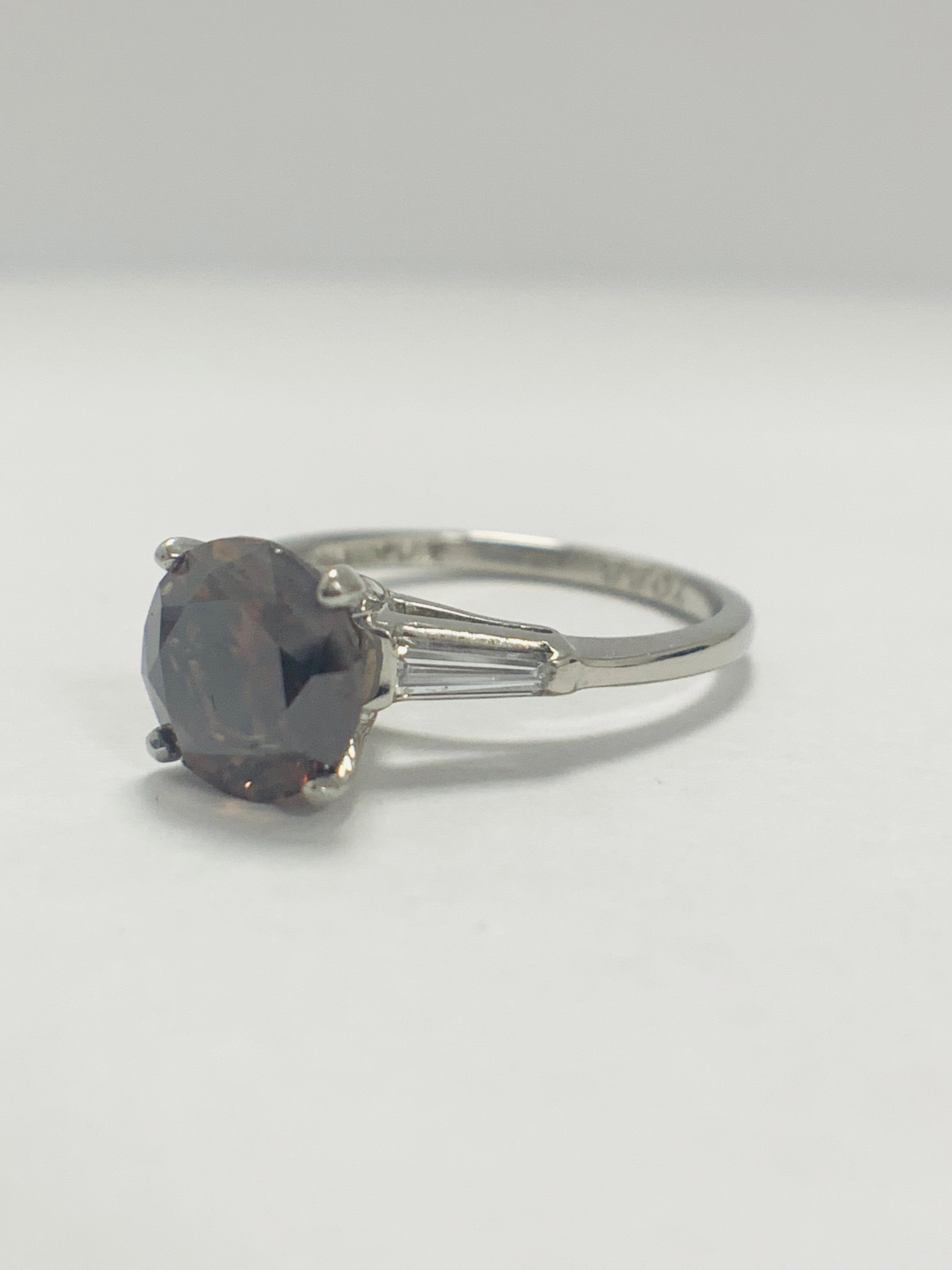 Platinum Diamond ring featuring centre, round brilliant cut, deep orangey brown Diamond (2.15ct) - Image 5 of 14