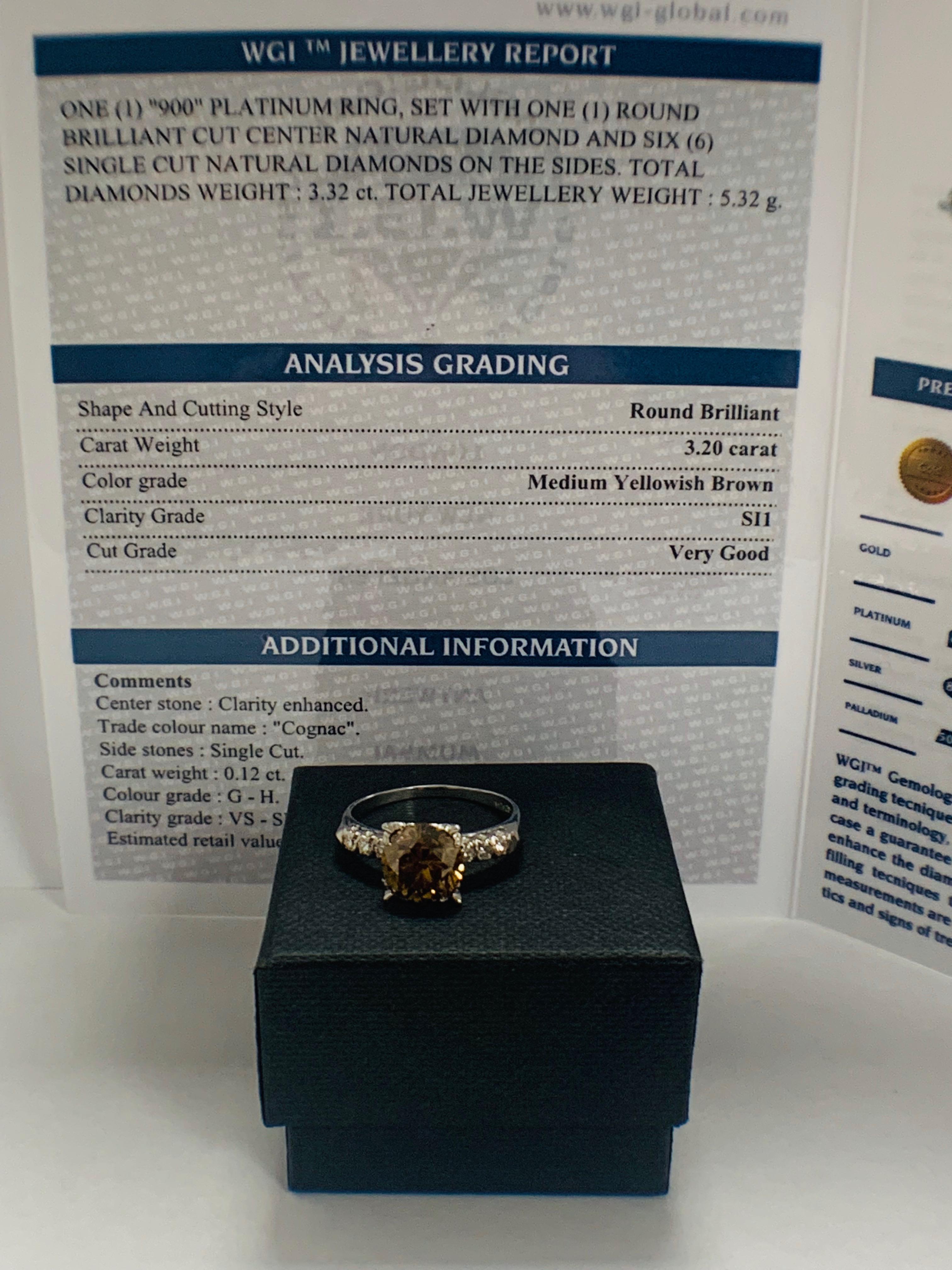 Platinum Diamond ring featuring centre, round brilliant cut, medium yellowish brown Diamond (3.20ct) - Image 5 of 9
