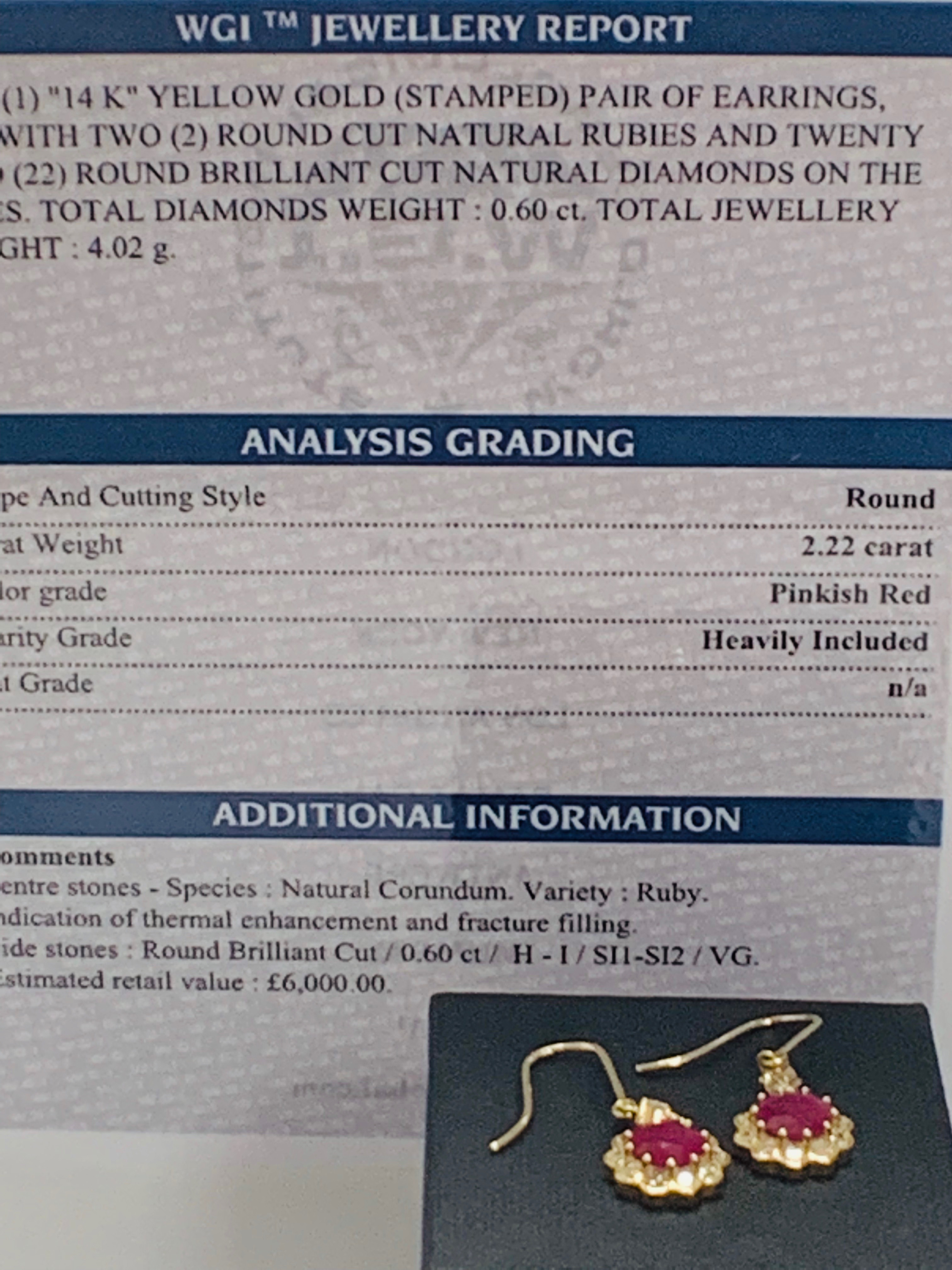 14ct Yellow Gold Ruby and Diamond earrings featuring, 2 round cut, red Rubies (2.22ct TSW) - Image 7 of 8