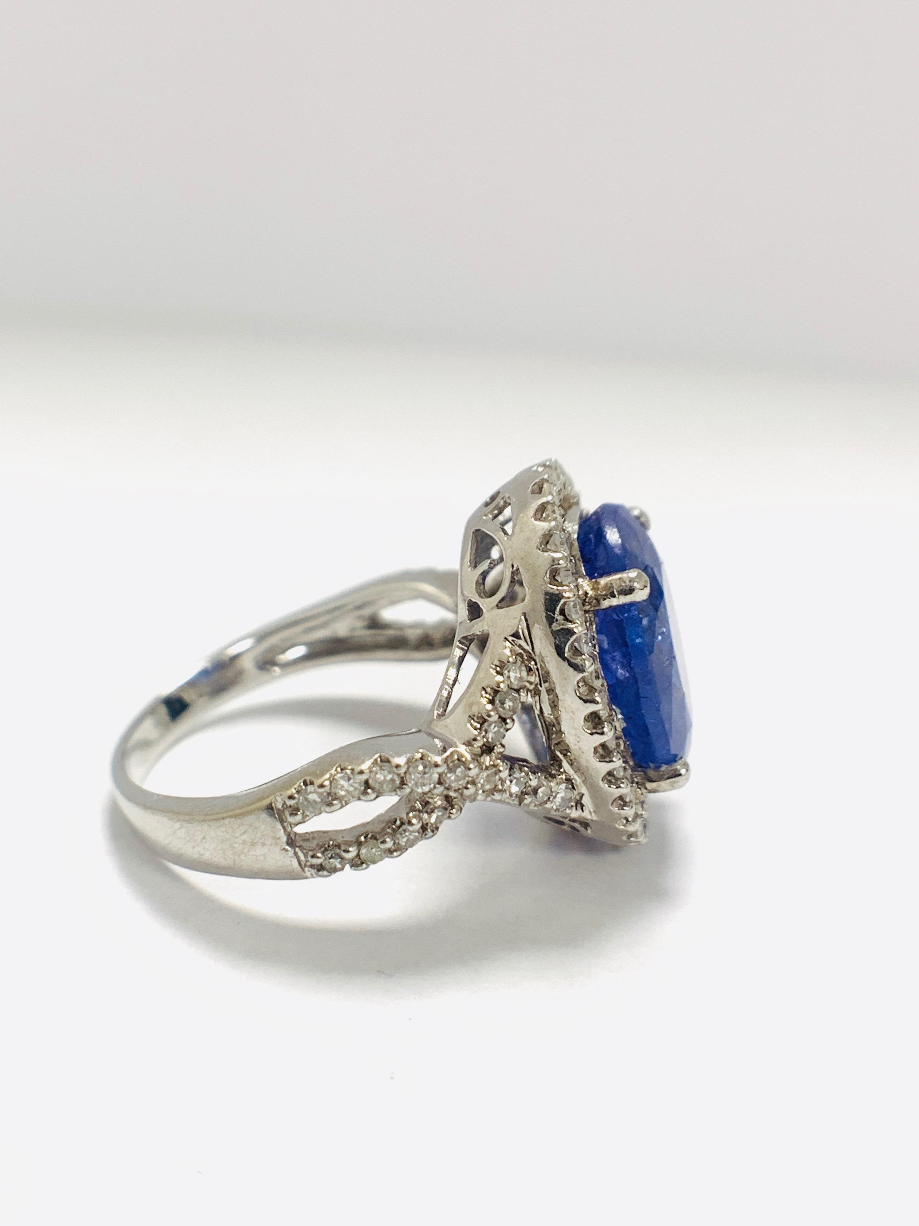 18ct White Gold Tanzanite and Diamond ring - Image 6 of 15