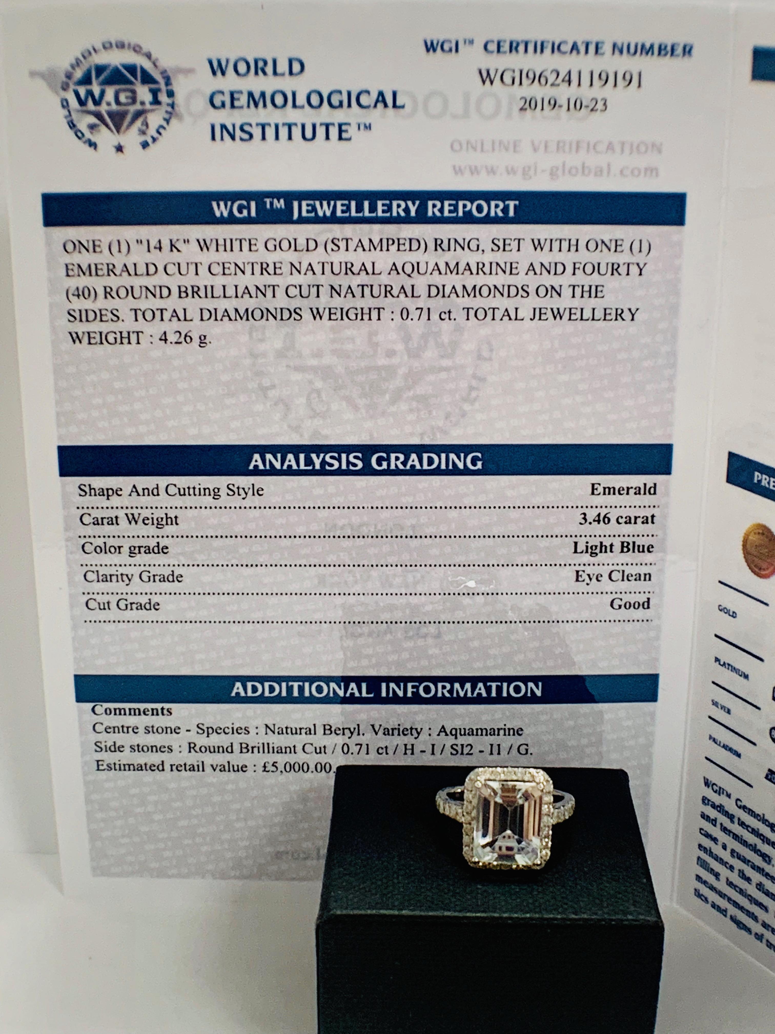 14ct White Gold Aquamarine and Diamond ring - Image 12 of 12