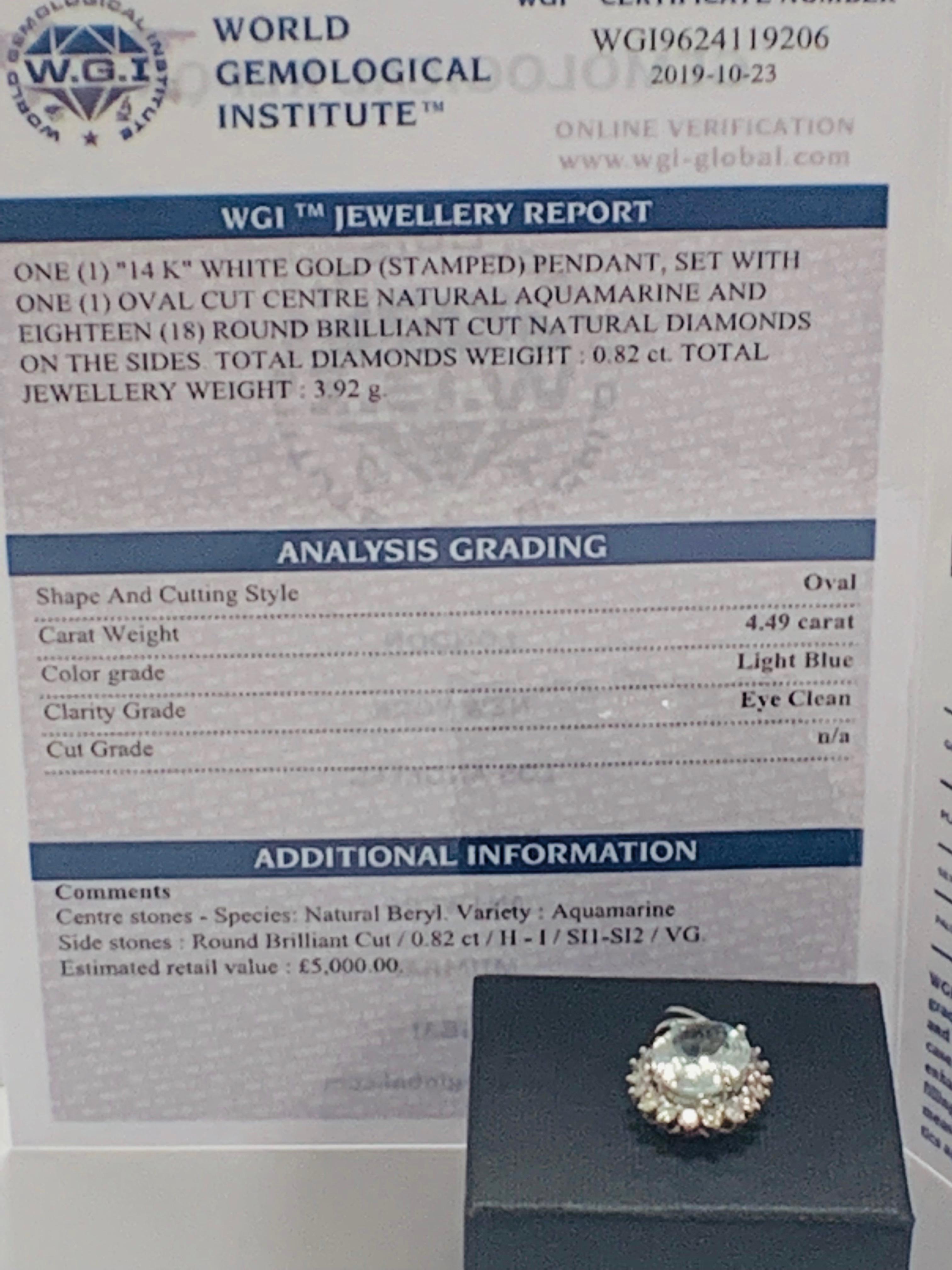 14ct White Gold Aquamarine and Diamond pendant - Image 4 of 5