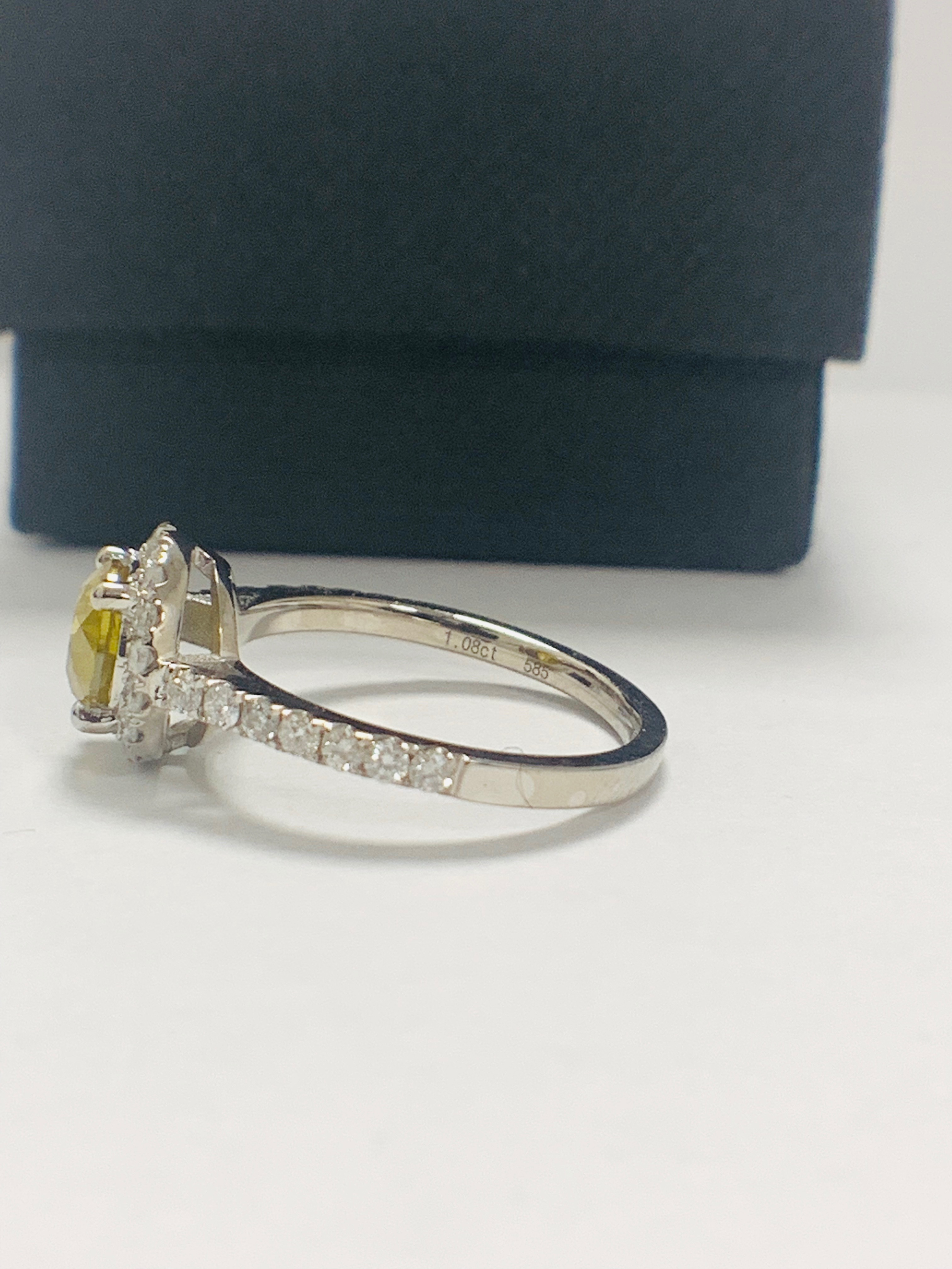 14ct White Gold Diamond ring featuring centre, round brilliant cut, yellow Diamond (1.08ct) - Image 3 of 12