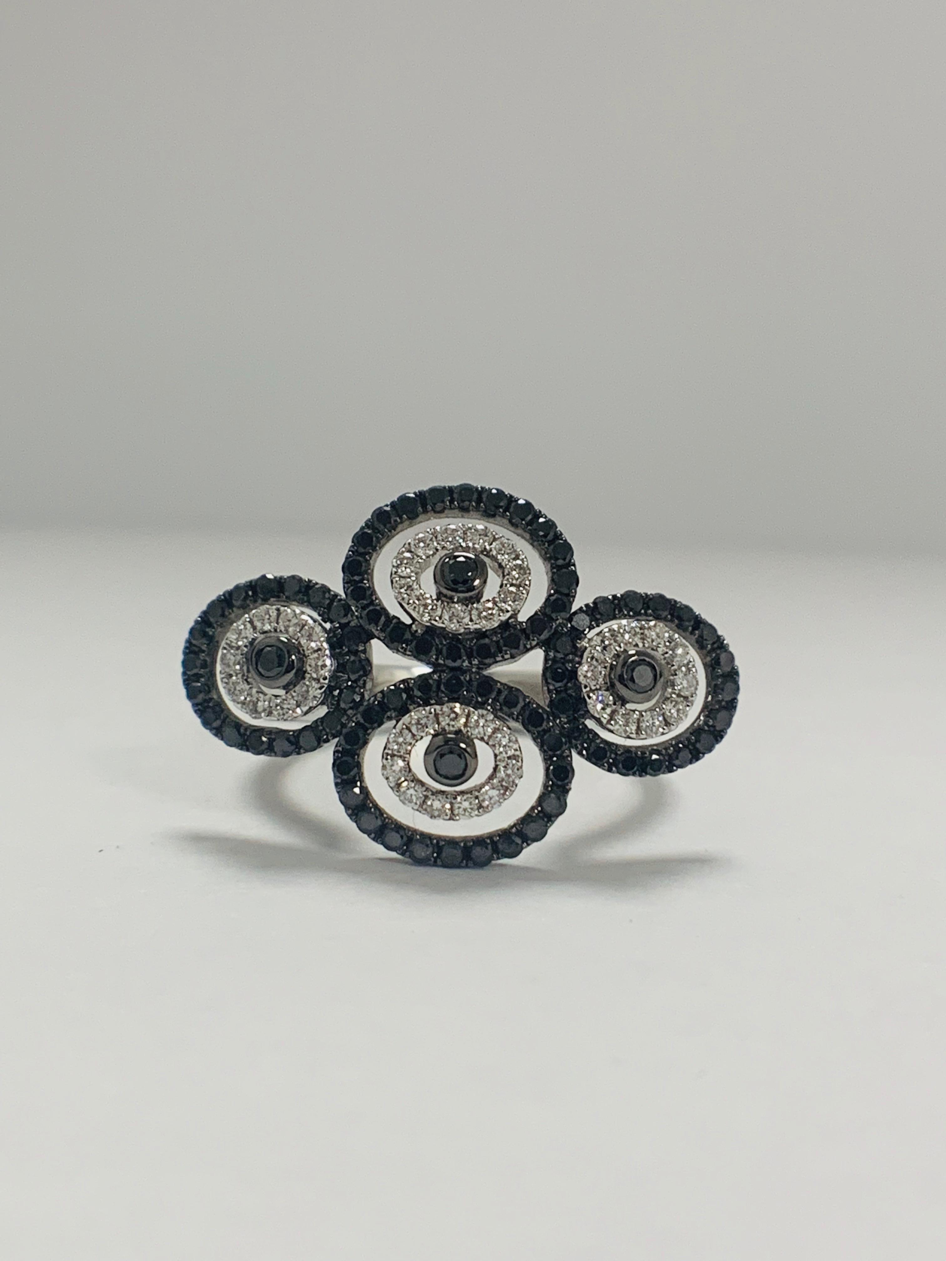 18ct White Gold Diamond ring featuring 80 round cut, black Diamonds (0.61ct TBDW)