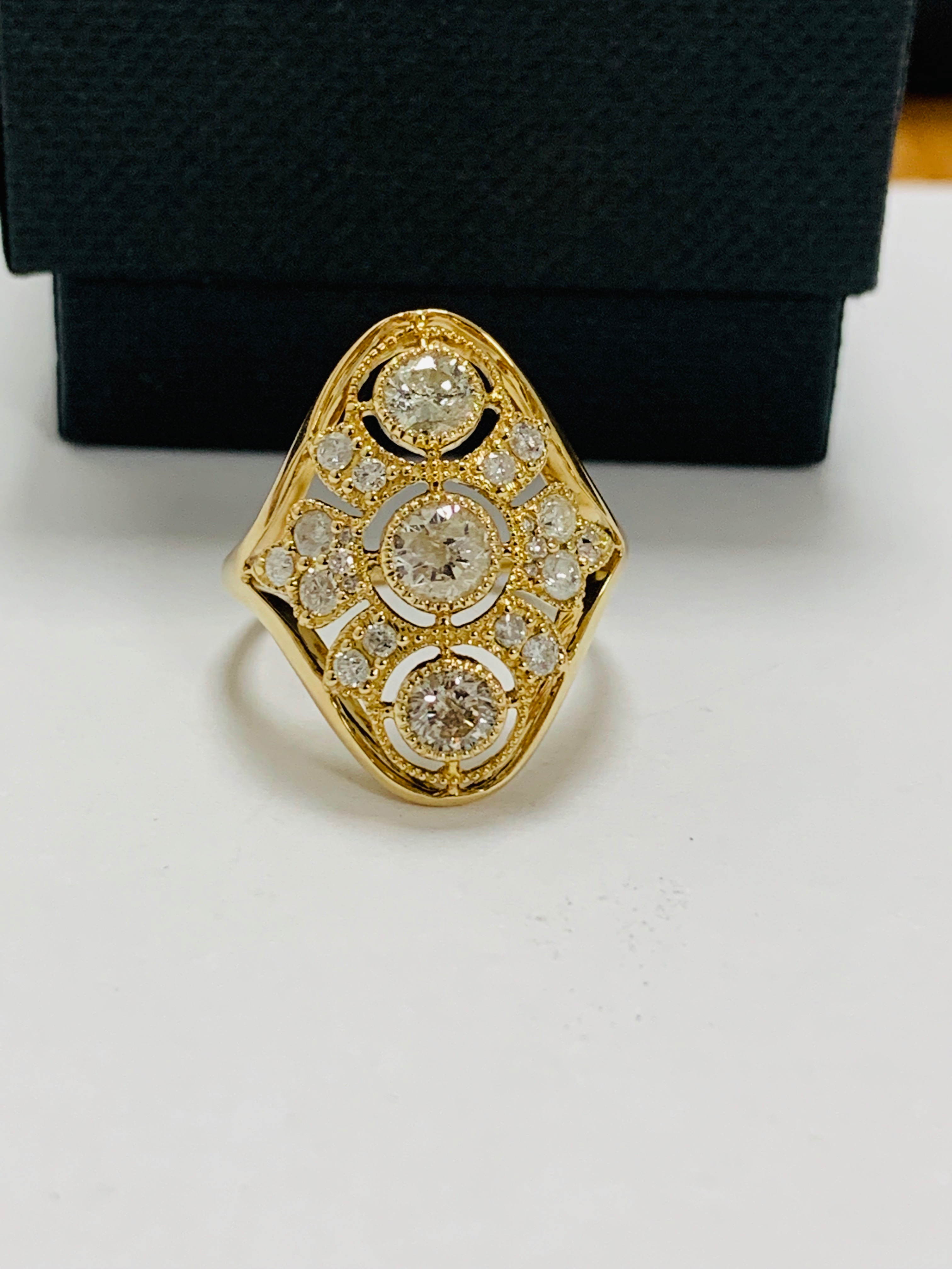 14ct yellow gold diamond ring. - Image 9 of 11
