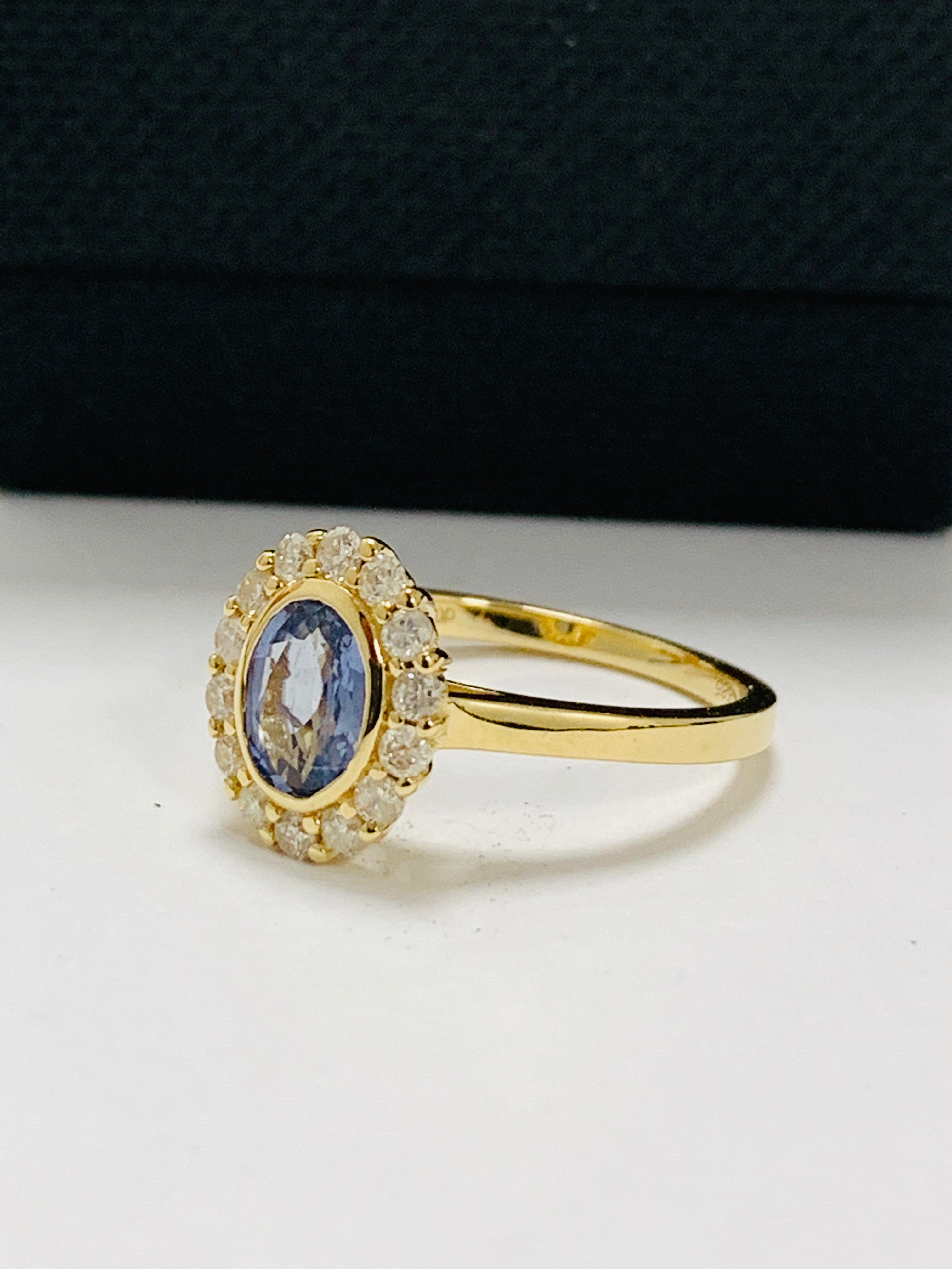 14ct yellow gold sapphire and diamond ring. - Image 2 of 11