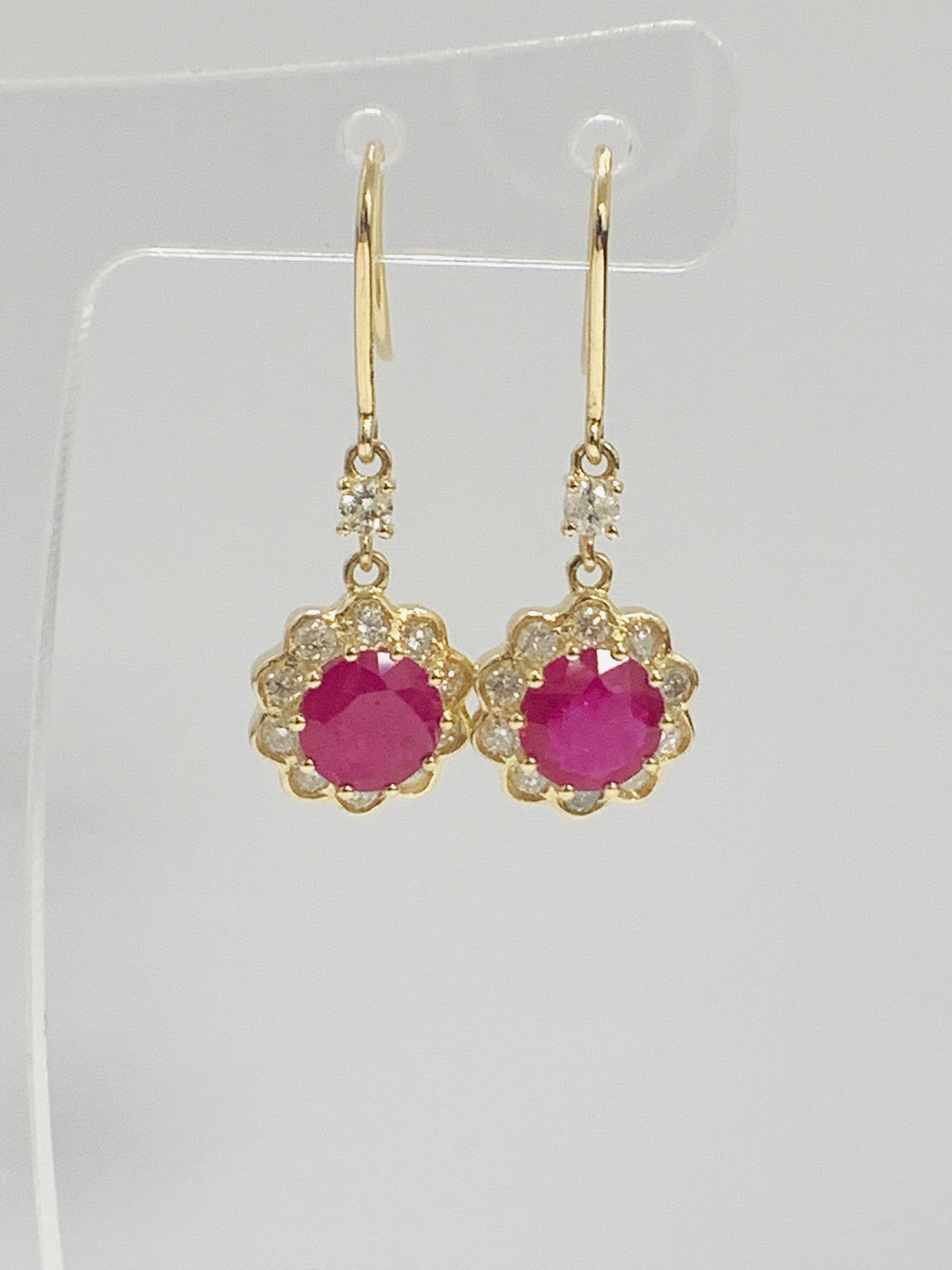 14ct Yellow Gold Ruby and Diamond earrings featuring, 2 round cut, red Rubies (2.22ct TSW) - Image 4 of 8