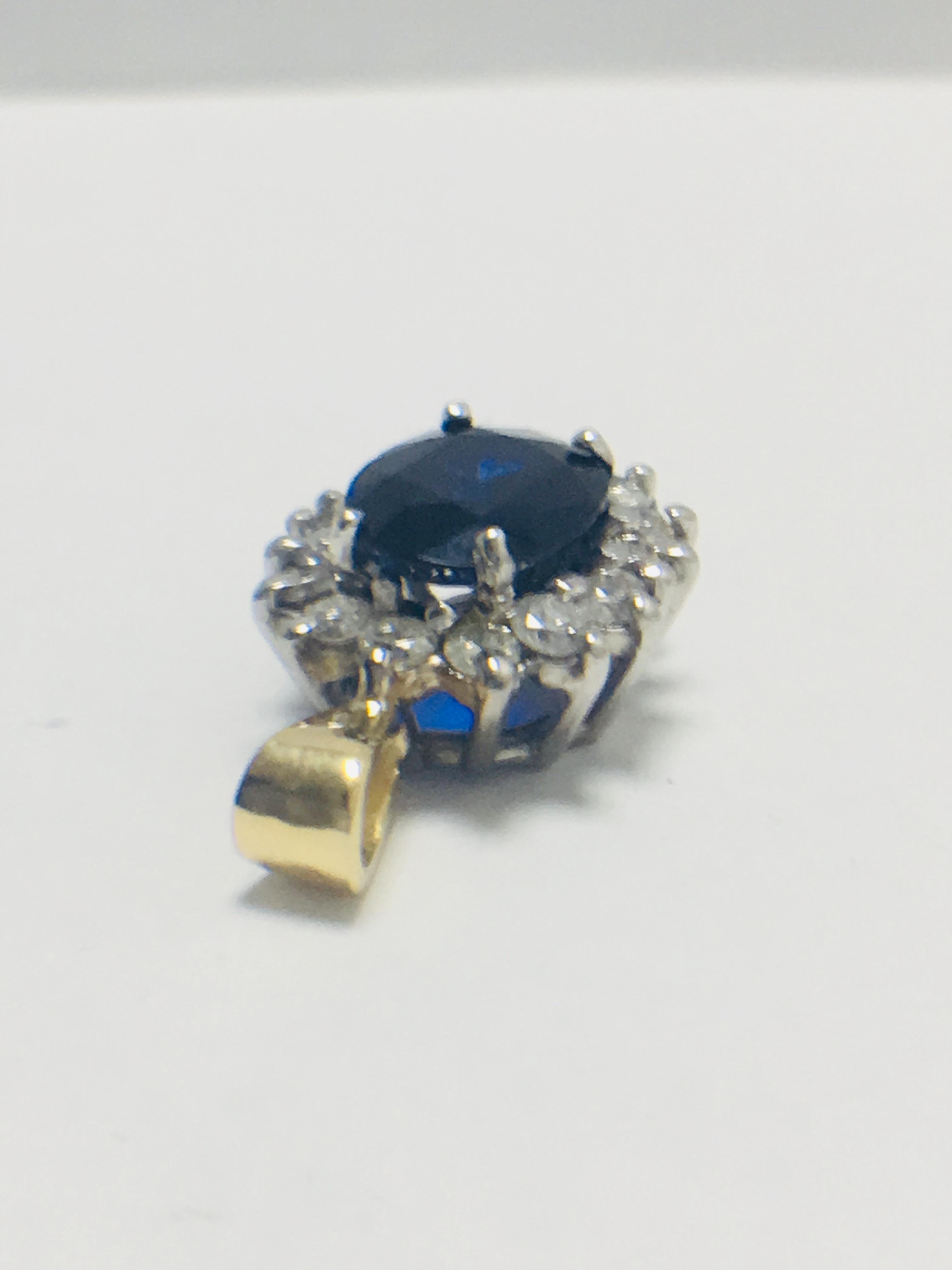 Sapphire and Diamond pendant,18ct gold - Image 4 of 7
