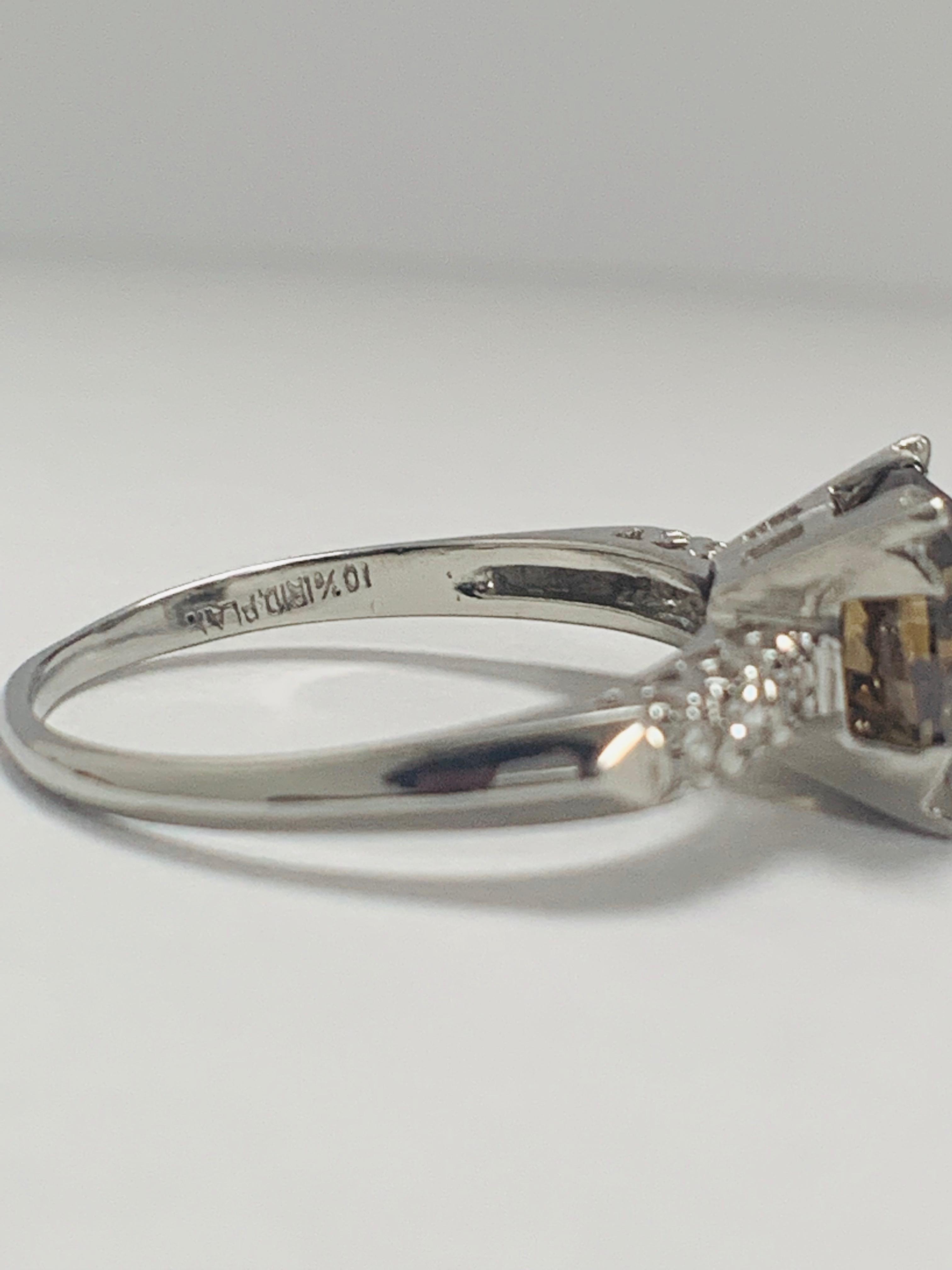 Platinum Diamond ring featuring centre, round brilliant cut, medium yellowish brown Diamond (3.20ct) - Image 9 of 9