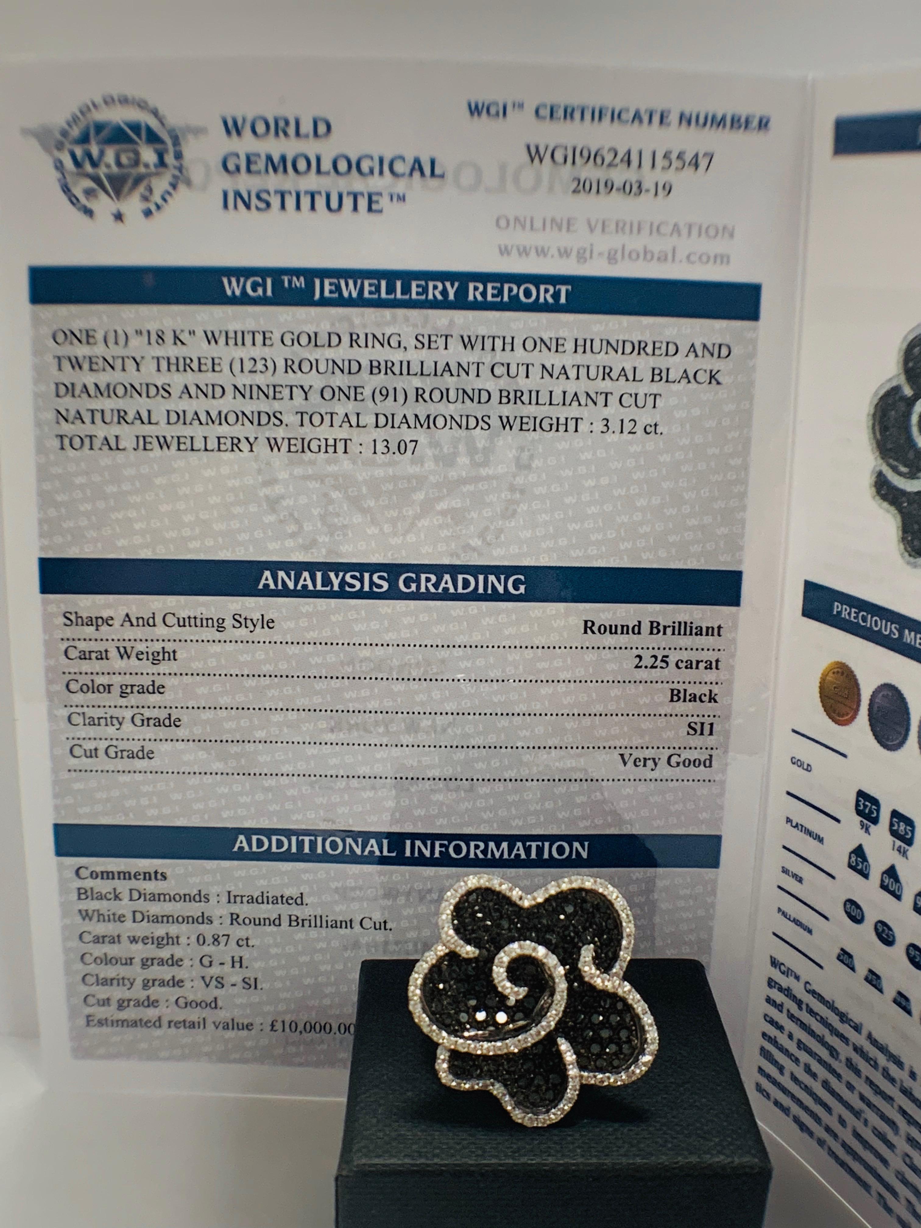 18ct White Gold Diamond flower design ring featuring 123 round cut, black Diamonds (2.25ct TBDW) - Image 13 of 13