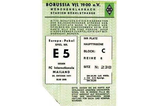 Football Ticket 1971 Monchengladbach Inter Borussia Moenchengladbach Vs Inter Mailand 7 1