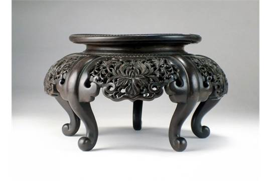 A Chinese Carved Hongmu Vase Stand Qing 19th Century The Circular