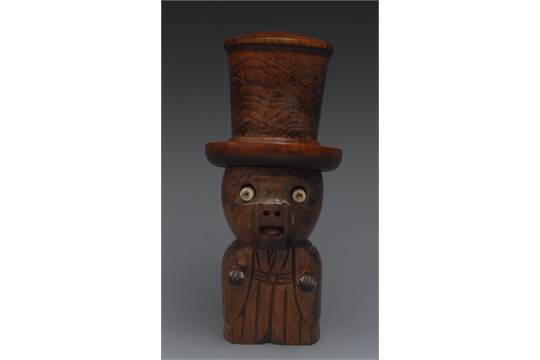 A Japanese Kobe Toy Dice Shaker Carved As A Comical Man His Tall Top Hat Containing Two Bone Ga