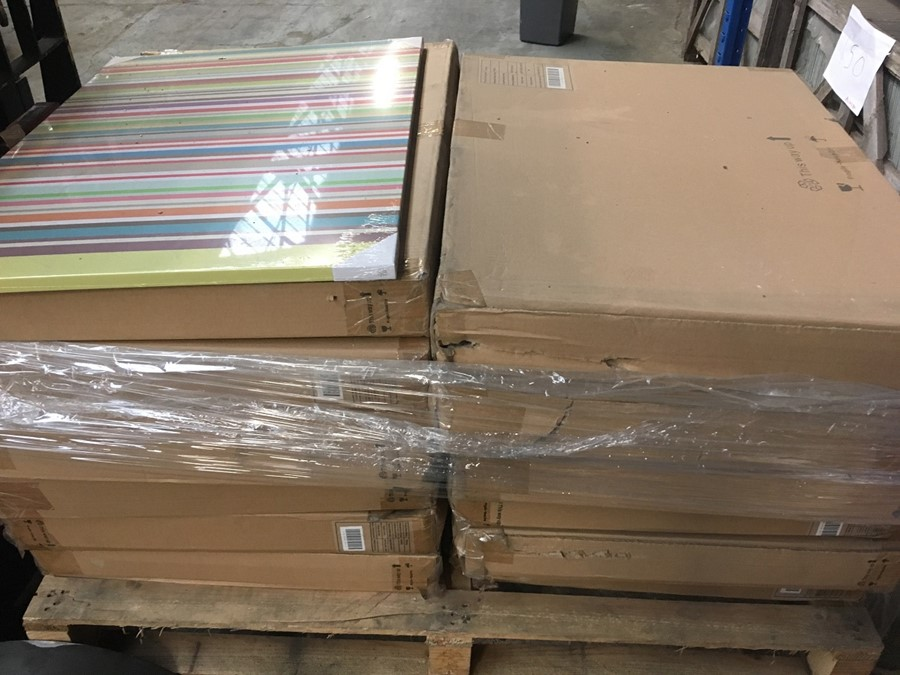 Lotto 58 - 1 LOT TO CONTAIN 51 COLOURFUL STRIPE CANVAS (VIEWING HIGHLY RECOMMENDED)