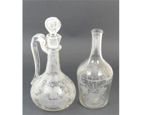 Victorian engraved glass claret jug, baluster form with faceted stopper, height 29cm; also an early 19th Century engraved gla