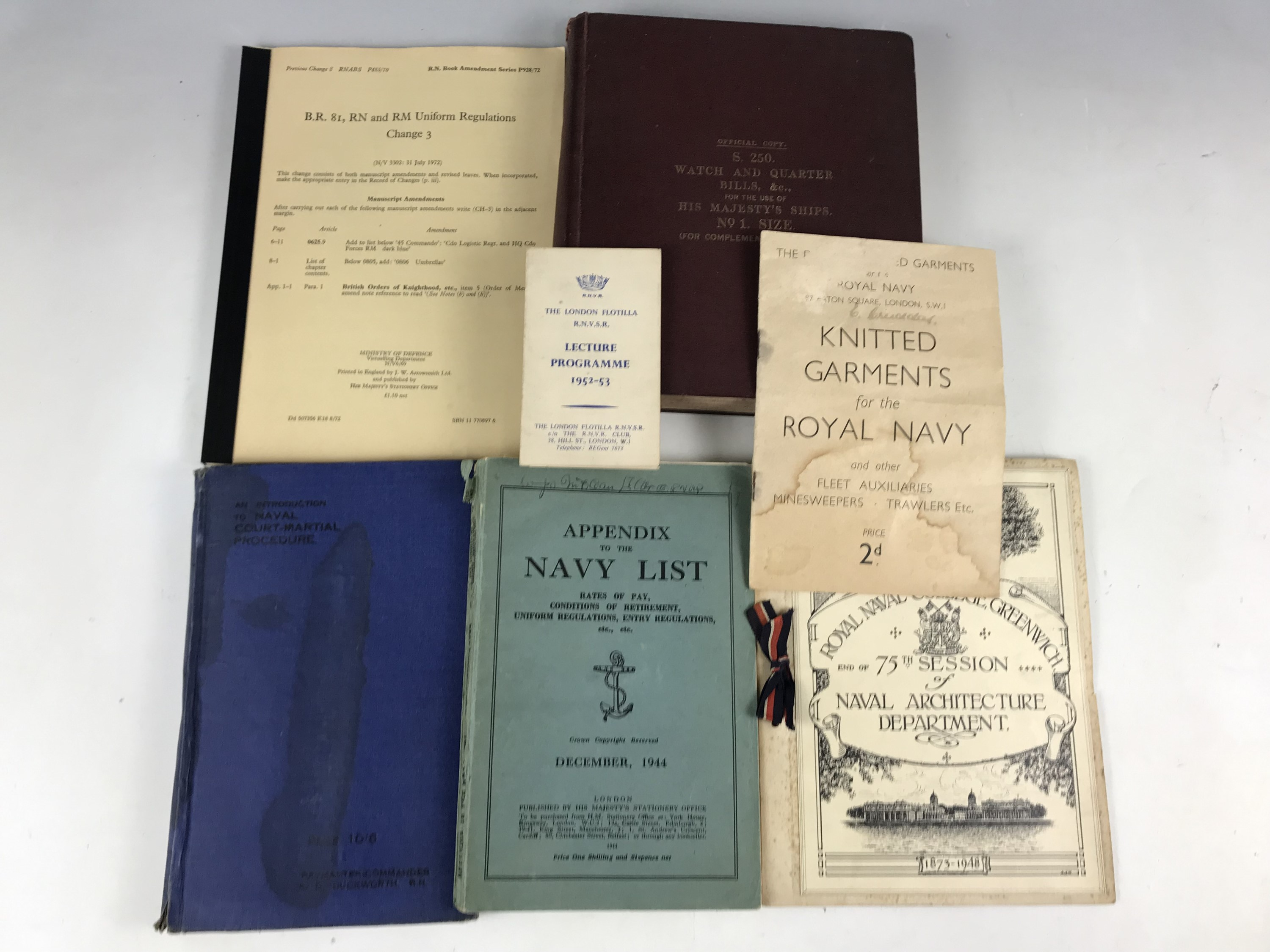 Lot 30 - A quantity of Royal Navy official and other publications including a Watch and Quarter Bills etc