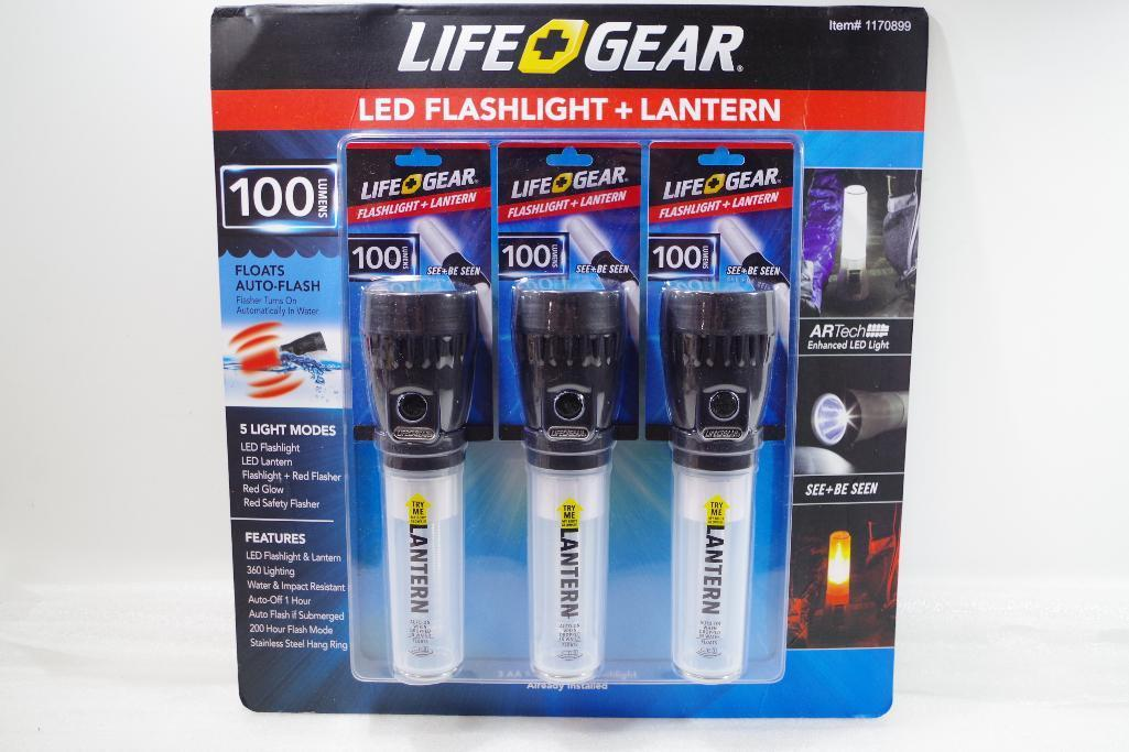 Lot 62 - NEW 3-Pack LIFE+GEAR LED Flashlight + Lantern