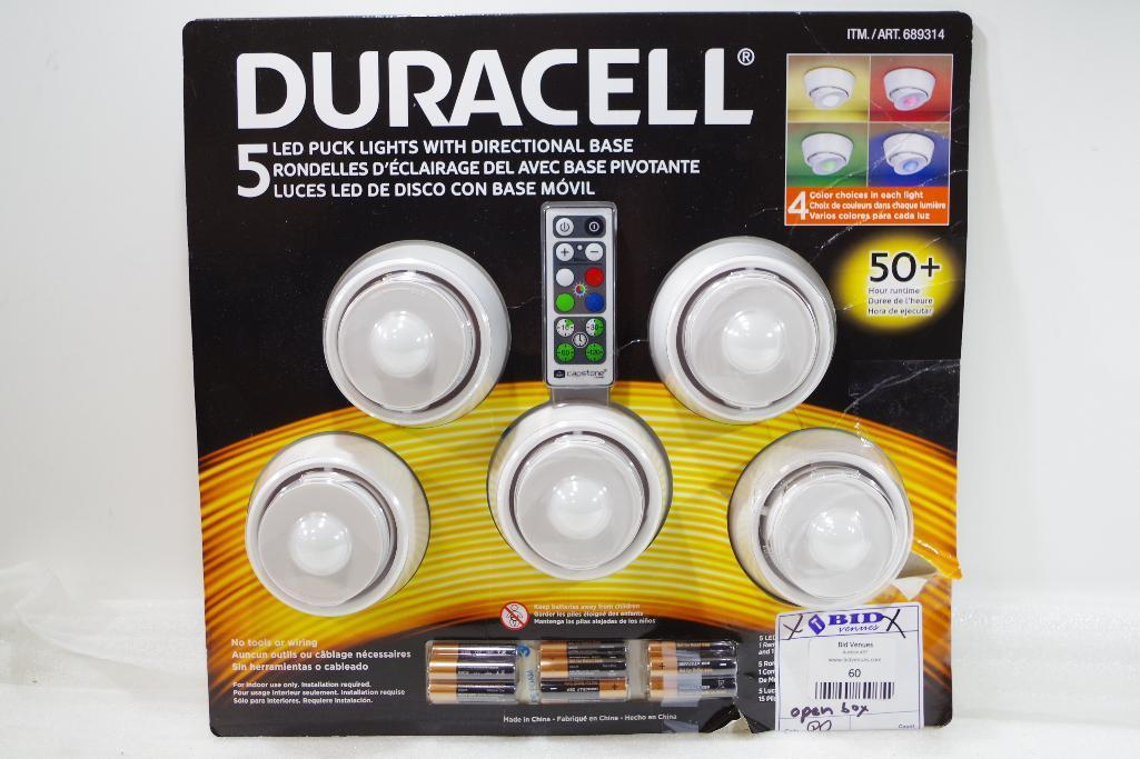 Lot 60 - DURACELL 5-Pack Puck Lights w/ Directional Base & Remote Control