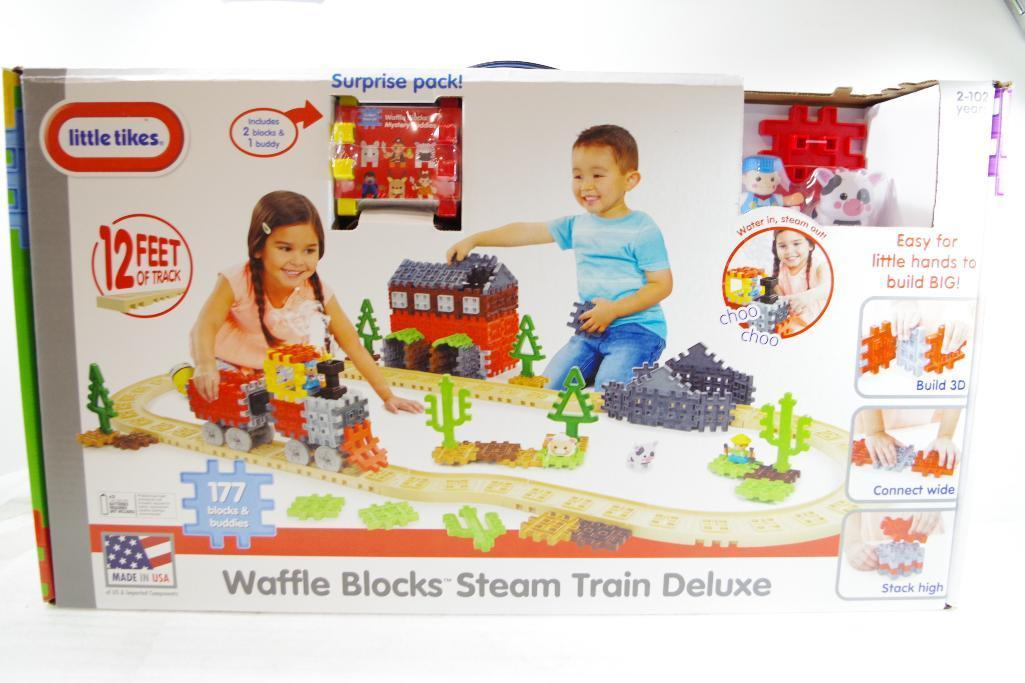 Lot 54 - NEW LITTLE TIKES Waffle Blocks Steam Train Deluxe w/ 12' of Track