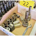 LOT OF COLLETS, TOOL HOLDERS, CRESCENT WRENCH