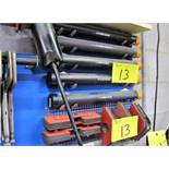 LOT OF (5) STORAGE TABLES W/ ALLOY WIRE STOCK (SILVER, ALUMINUM, BRONZE) AND (18) WELDING MAGNETS