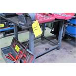 """APPROX. 36"""" X 53"""" WELDING TABLE, 1"""" THICK PLATE TOP AND 4-1/2"""" VISE (NO CONTENTS)"""