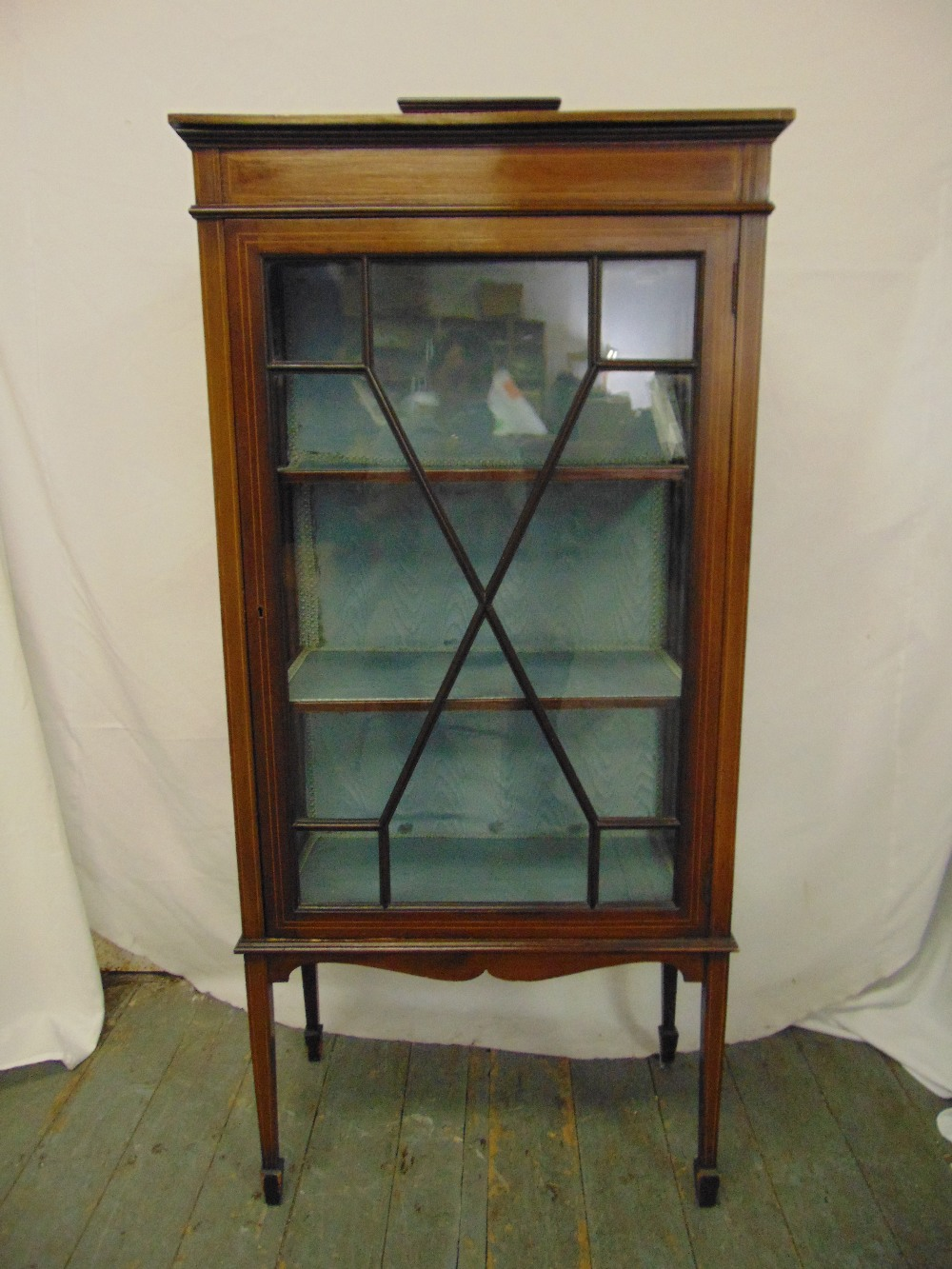 Lot 16 - An Edwardian rectangular mahogany glazed inlaid display cabinet on four tapering rectangular legs